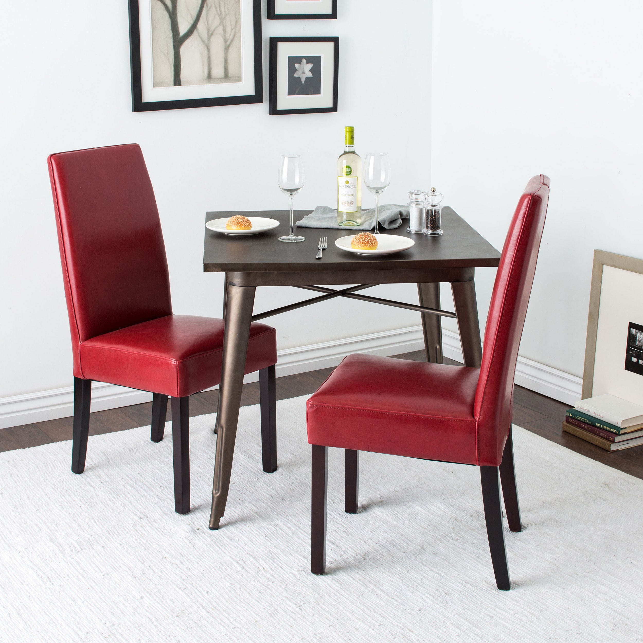 Red Leather Dining Room Chairs Leather Dining Chairs Burnt Red Set Of 2