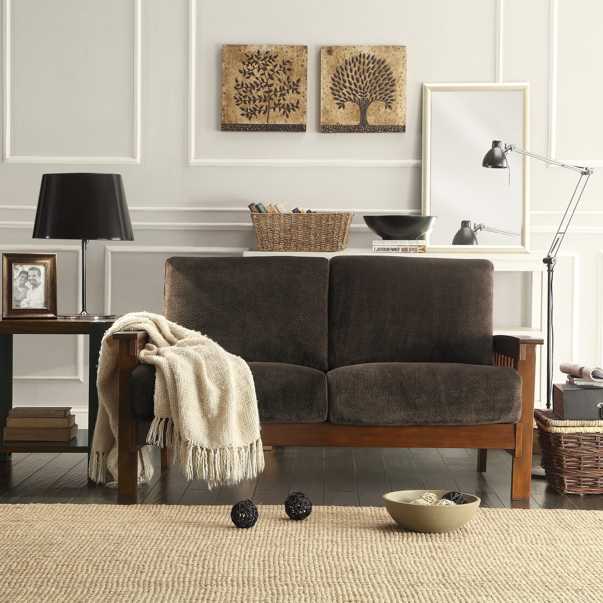 shop hills mission style oak loveseat by inspire q classic on sale free shipping today overstock 3911909