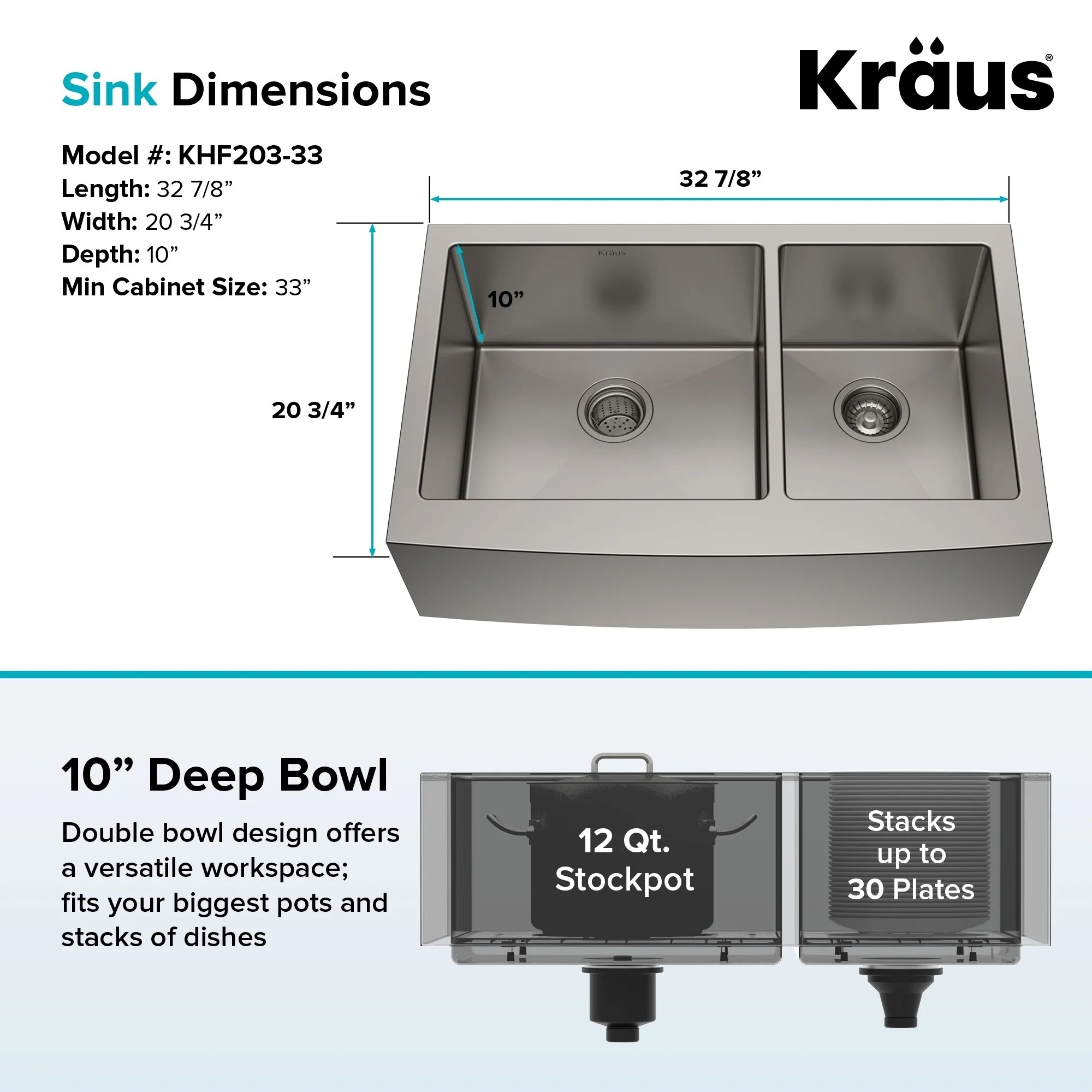 kitchen sink dimensions white buffet shop kraus khf203 36 farmhouse apron front 35 7 8 in 16g 60 40 2 bowl satin stainless steel grids strainers towel on sale free shipping