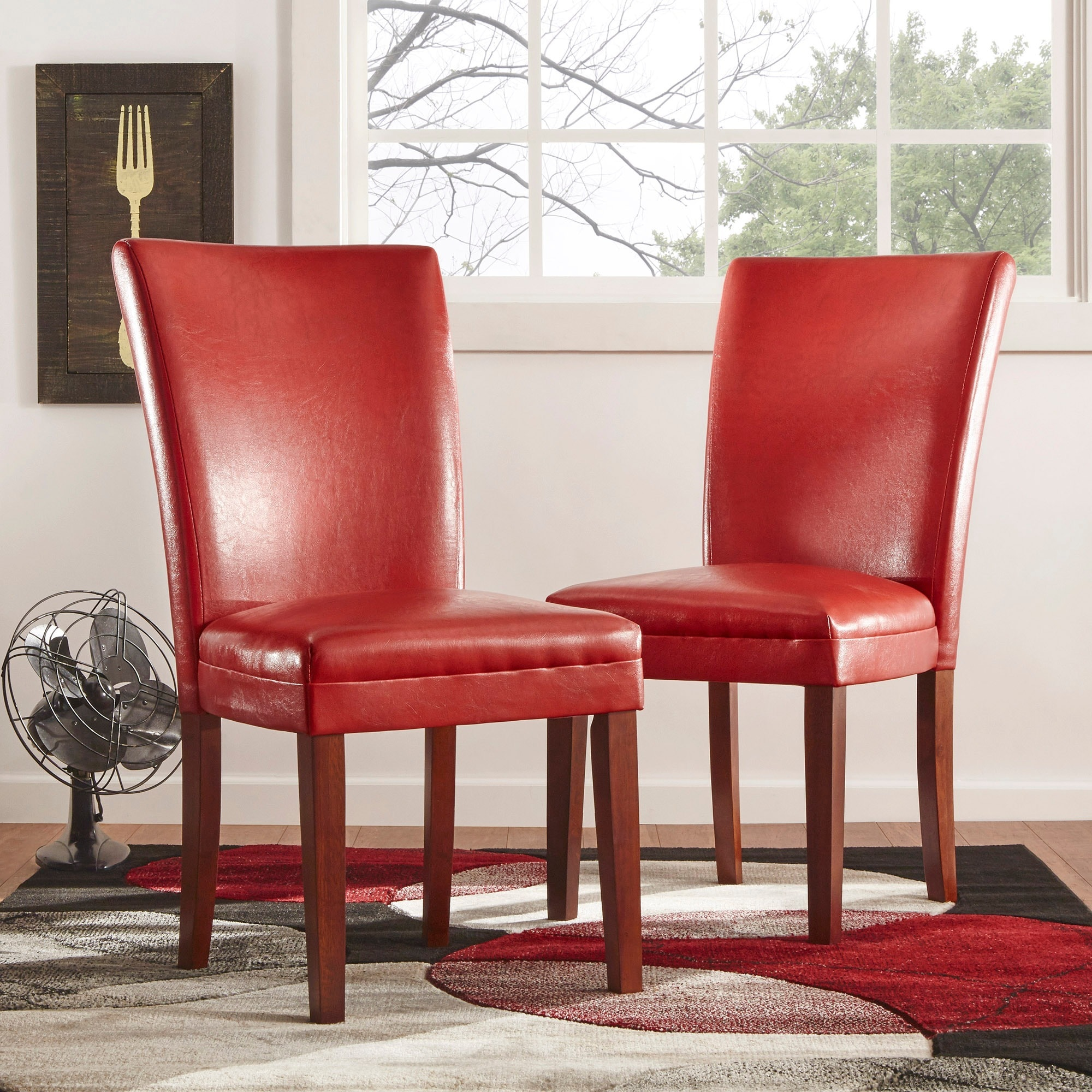 Red Leather Dining Room Chairs Tribecca Home Charlotte Faux Leather Dining Chairs Red Set Of 2