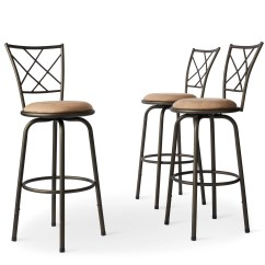 Kitchen Stools With Backs Narrow Island Shop Avalon Quarter Cross Adjustable Swivel High Back Set Of 3 By Inspire Q Classic N A Free Shipping Today Overstock Com 4302142