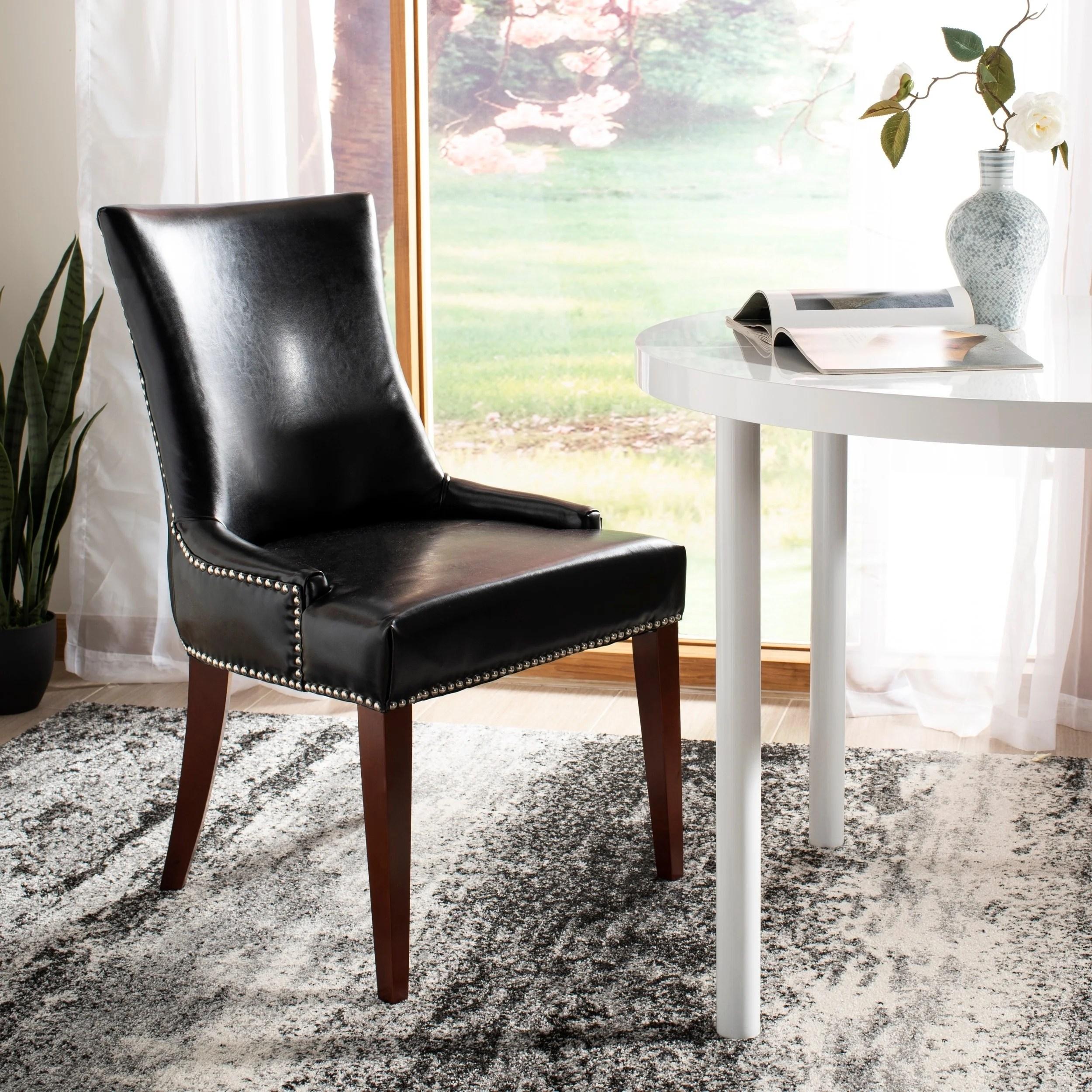 Black Leather Dining Chairs Safavieh En Vogue Dining Becca Leather Dining Chair Black