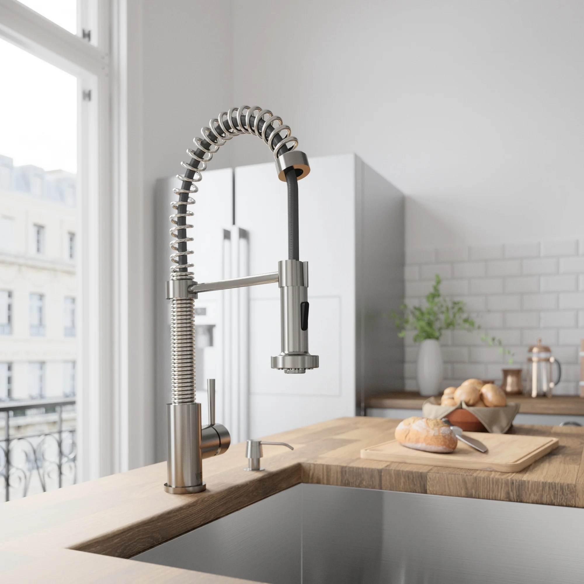 stainless steel kitchen faucets cherry wood cabinets photos shop vigo edison pull down spray faucet on
