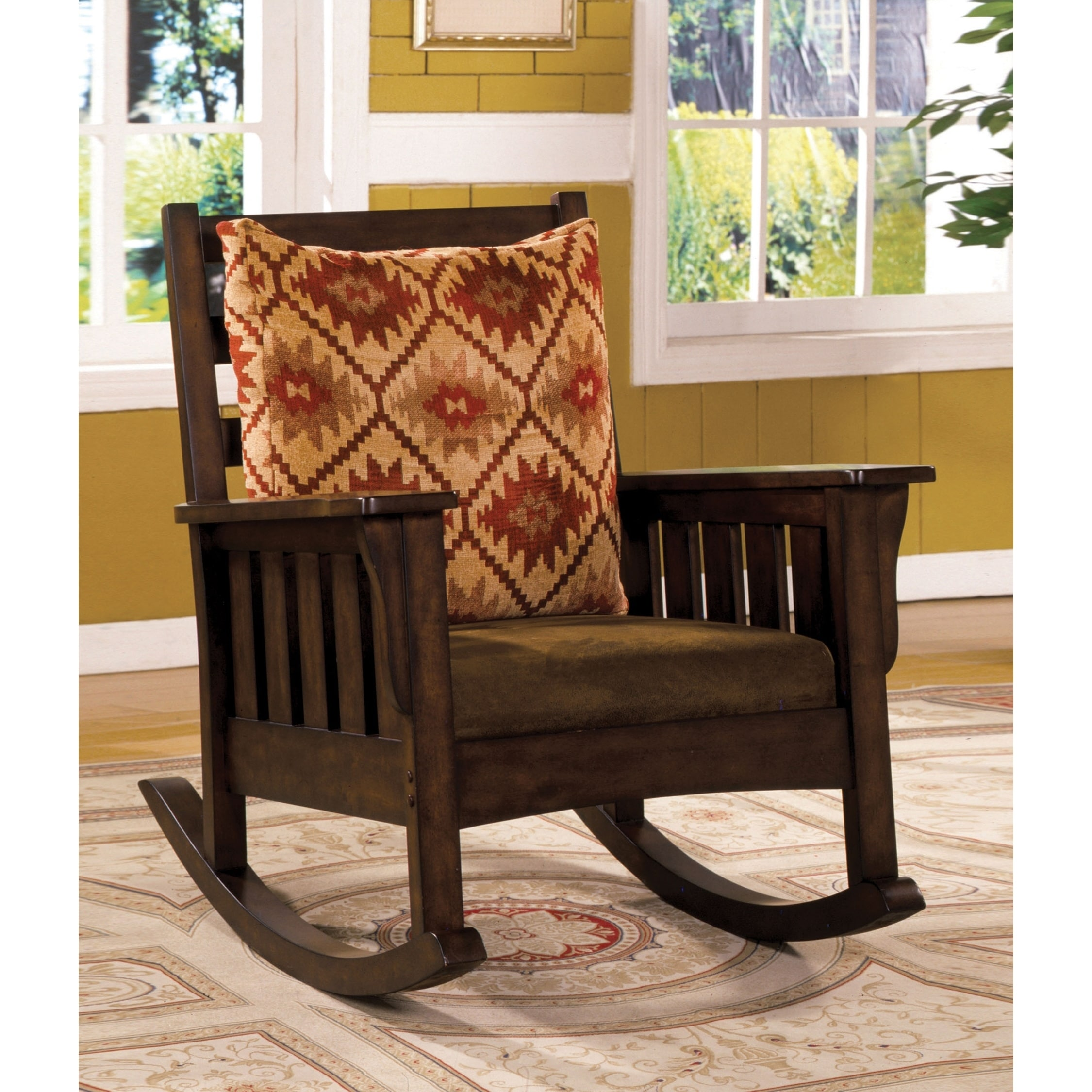 Rocking Accent Chairs Rosewood Traditional Dark Oak Rocking Accent Chair By Foa