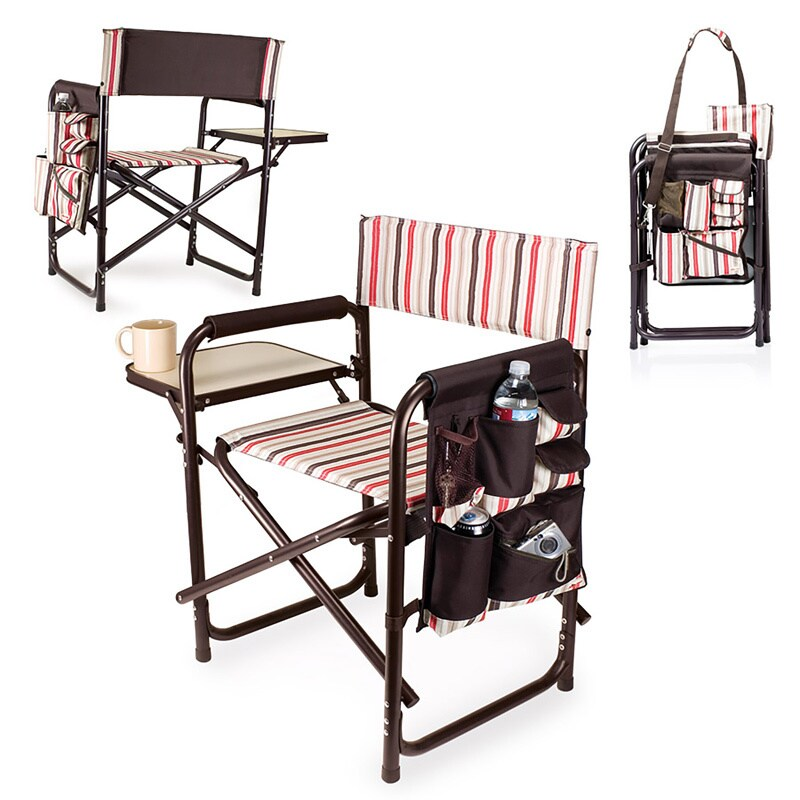picnic time sports chair black leather swivel lounge shop folding with side table on sale free shipping today overstock com 4870027