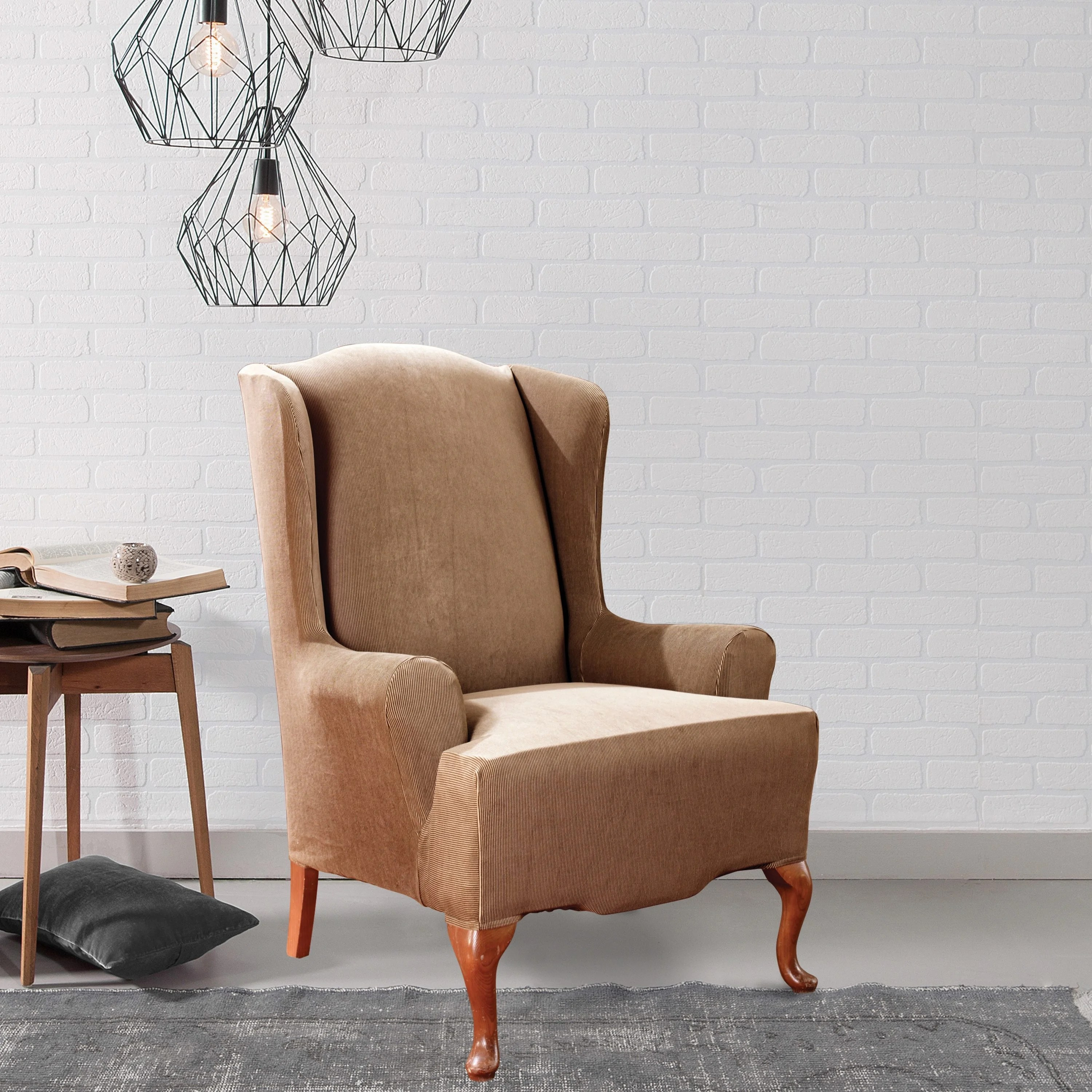 Fit Chair Sure Fit Stretch Stripe Wing Chair Slipcover