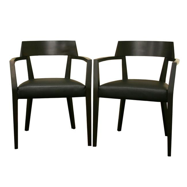 modern leather dining chairs with arms office chair replacement shop laine wenge wood faux set of 2 free shipping today overstock com 5217802