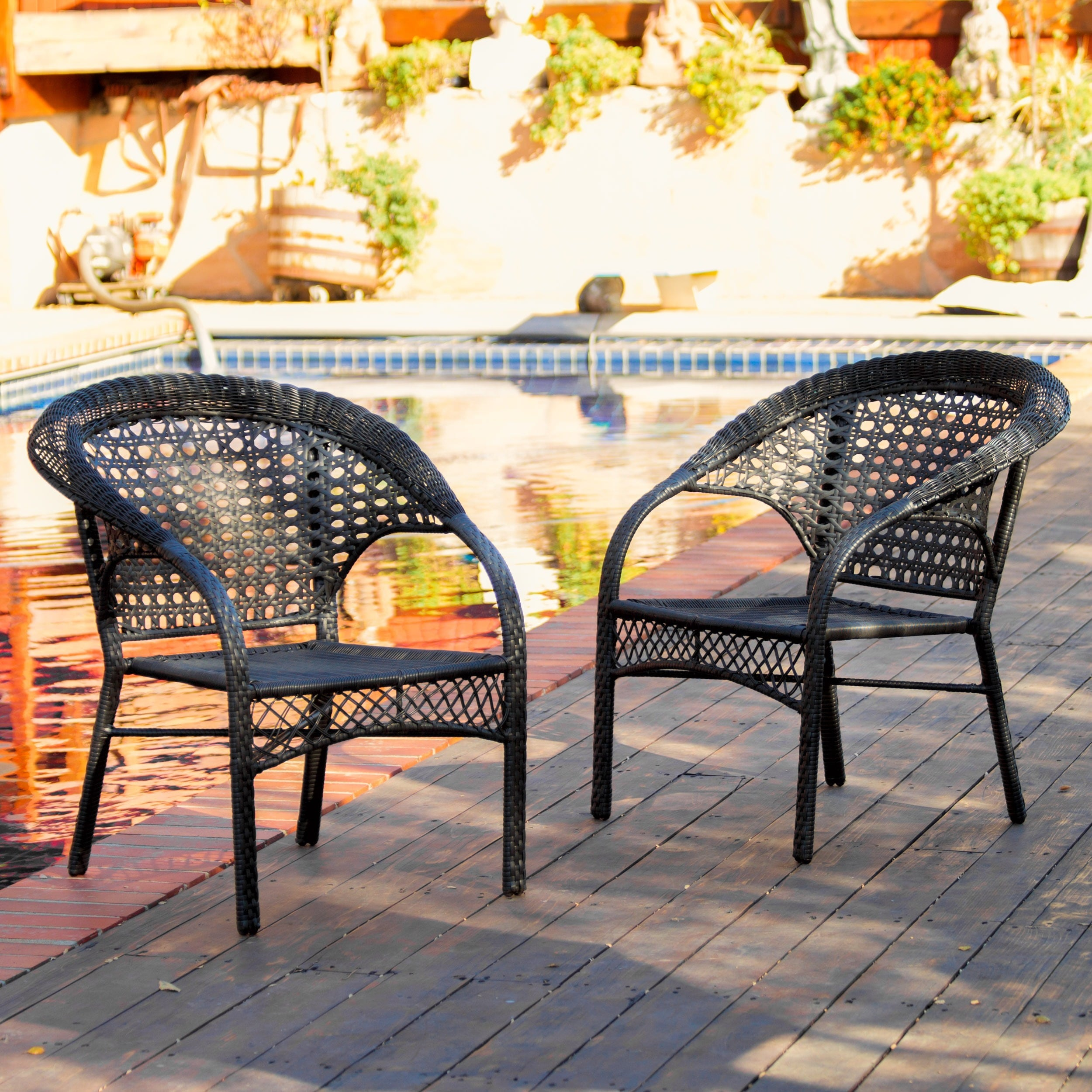 Wicker Chairs Indoor Wicker Fan Back Indoor Outdoor Club Chairs Set Of 2 By Christopher Knight Home