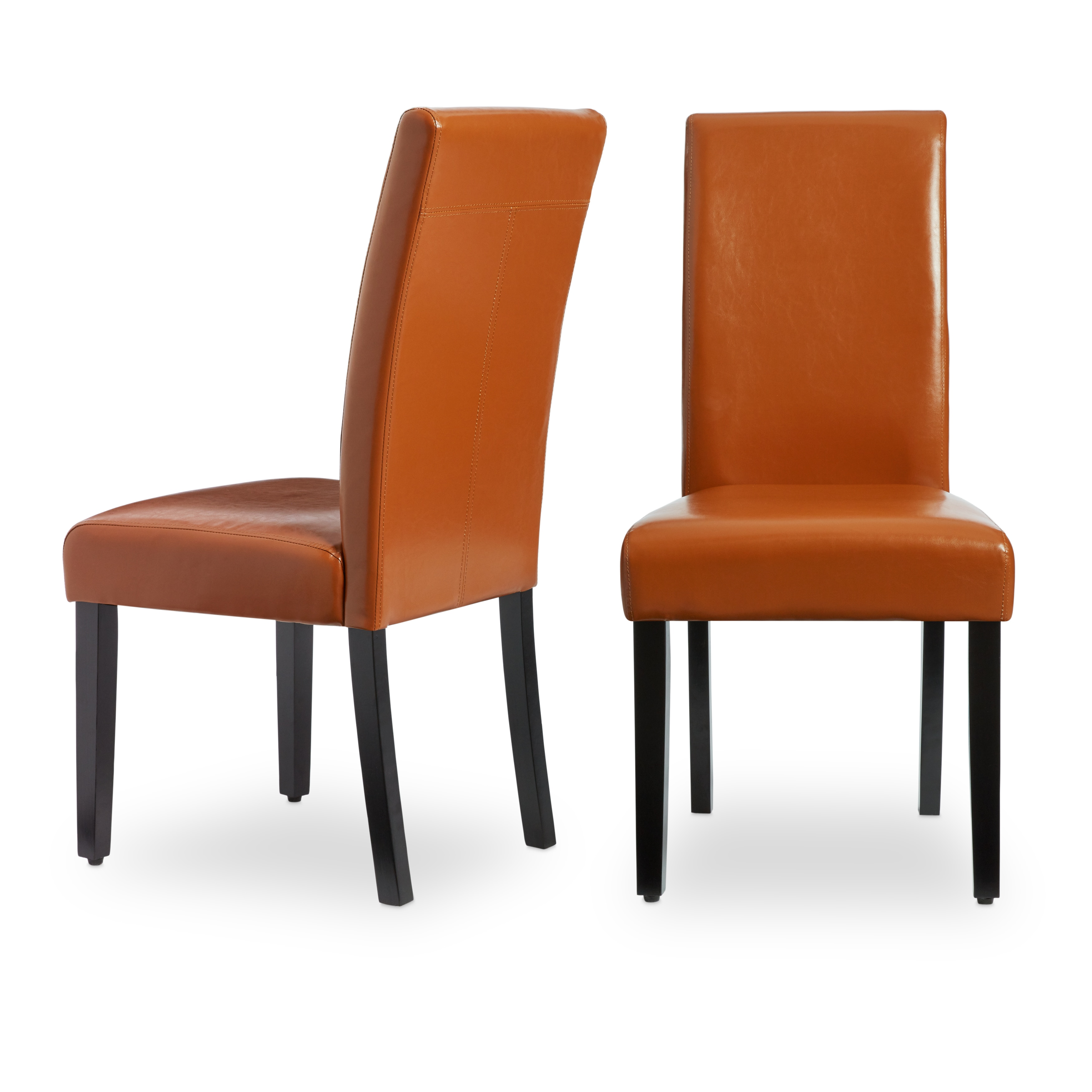 leather dining chairs chair covers light grey shop villa faux set of 2 free shipping today overstock com 5801287