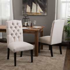 Dining Chairs Fabric Brown Leather Tub Chair With Footstool Shop Crown Off White Set Of 2 By Christopher Knight Home