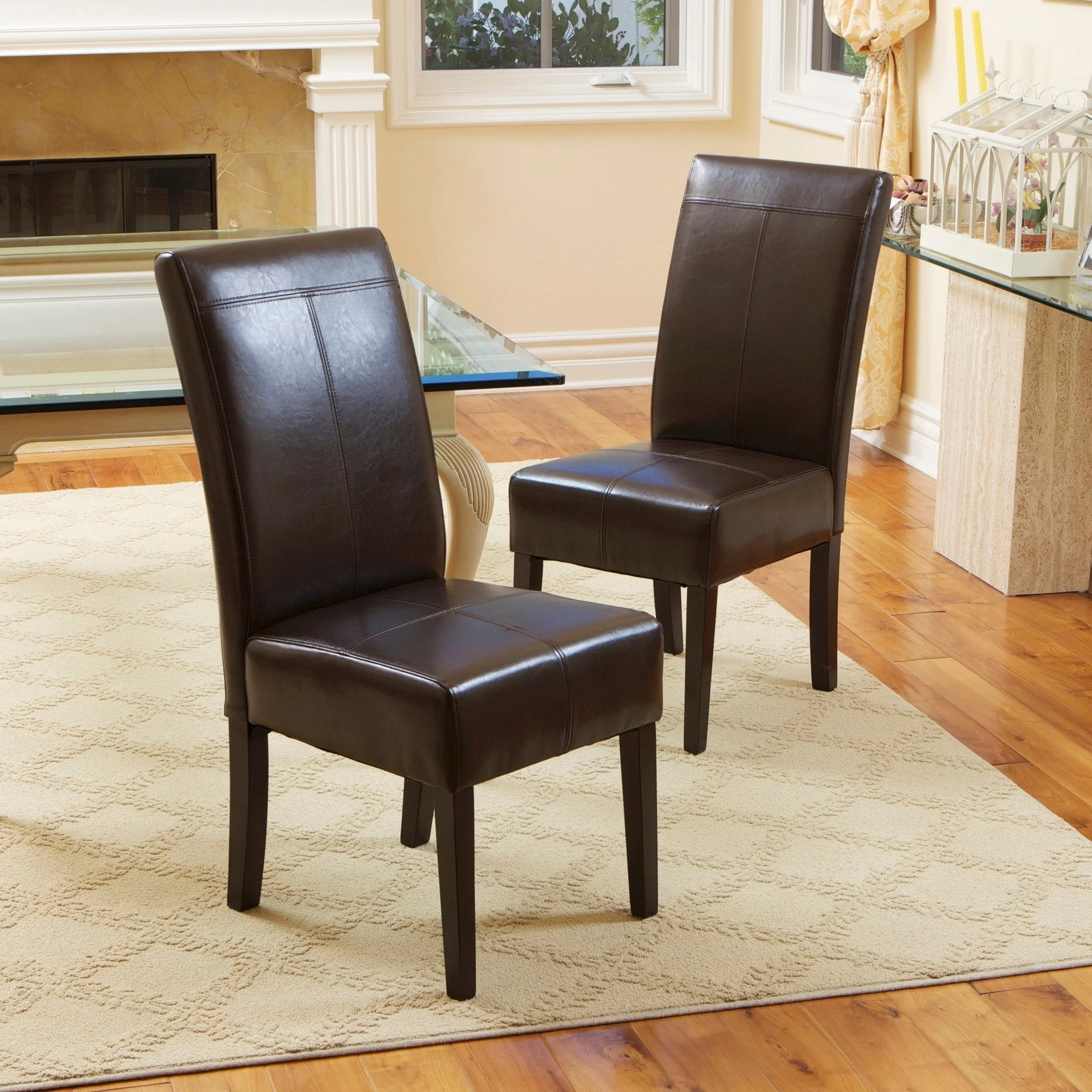 Brown Leather Chairs T Stitch Chocolate Brown Leather Dining Chairs Set Of 2 By Christopher Knight Home