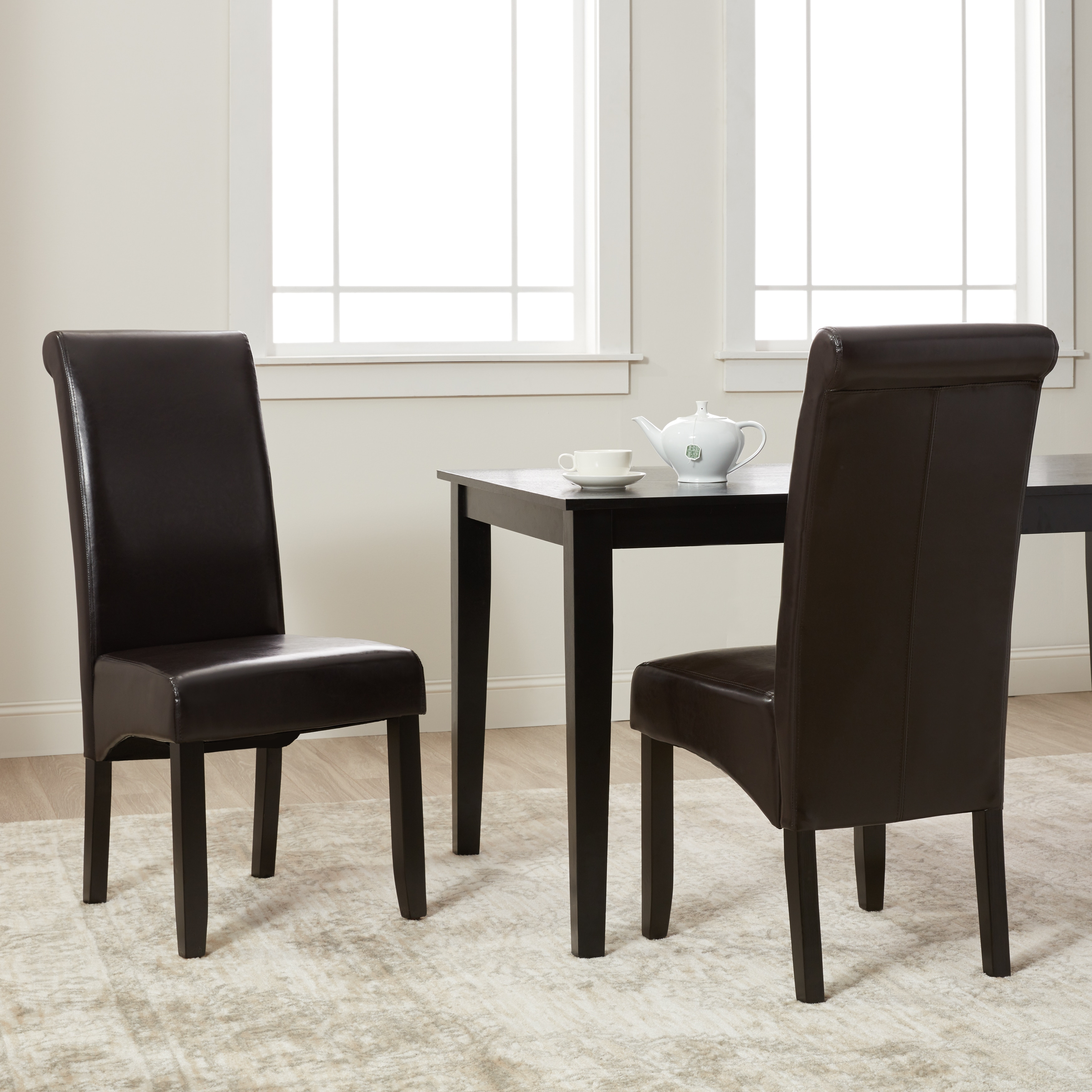 faux leather dining chairs chair cushions ikea shop milan set of 2 free shipping