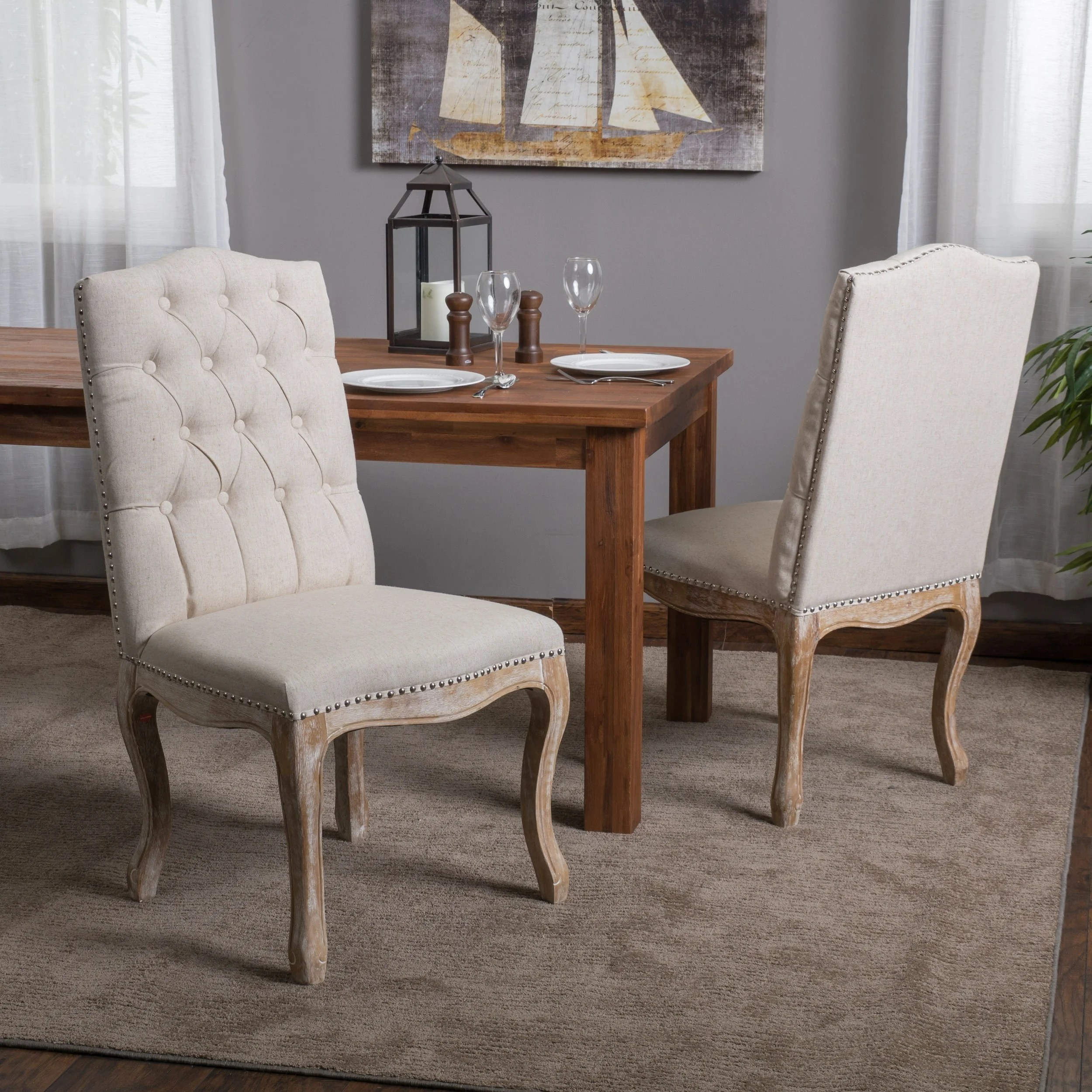 Studded Dining Chairs Weathered Hardwood Studded Beige Dining Chair By Christopher Knight Home Set Of 2