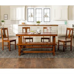 Distressed Dining Chairs Chair Covers Calgary Shop Dark Oak 6 Piece Wood Set With Bench Free