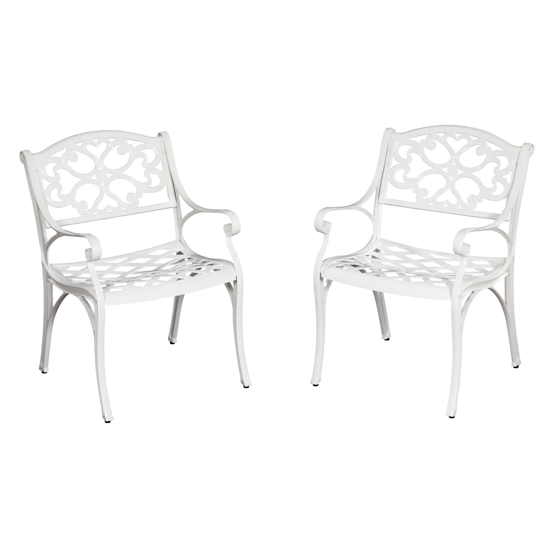 Styles Of Chairs Biscayne Cast Aluminum White Outdoor Arm Chairs Set Of 2 By Home Styles