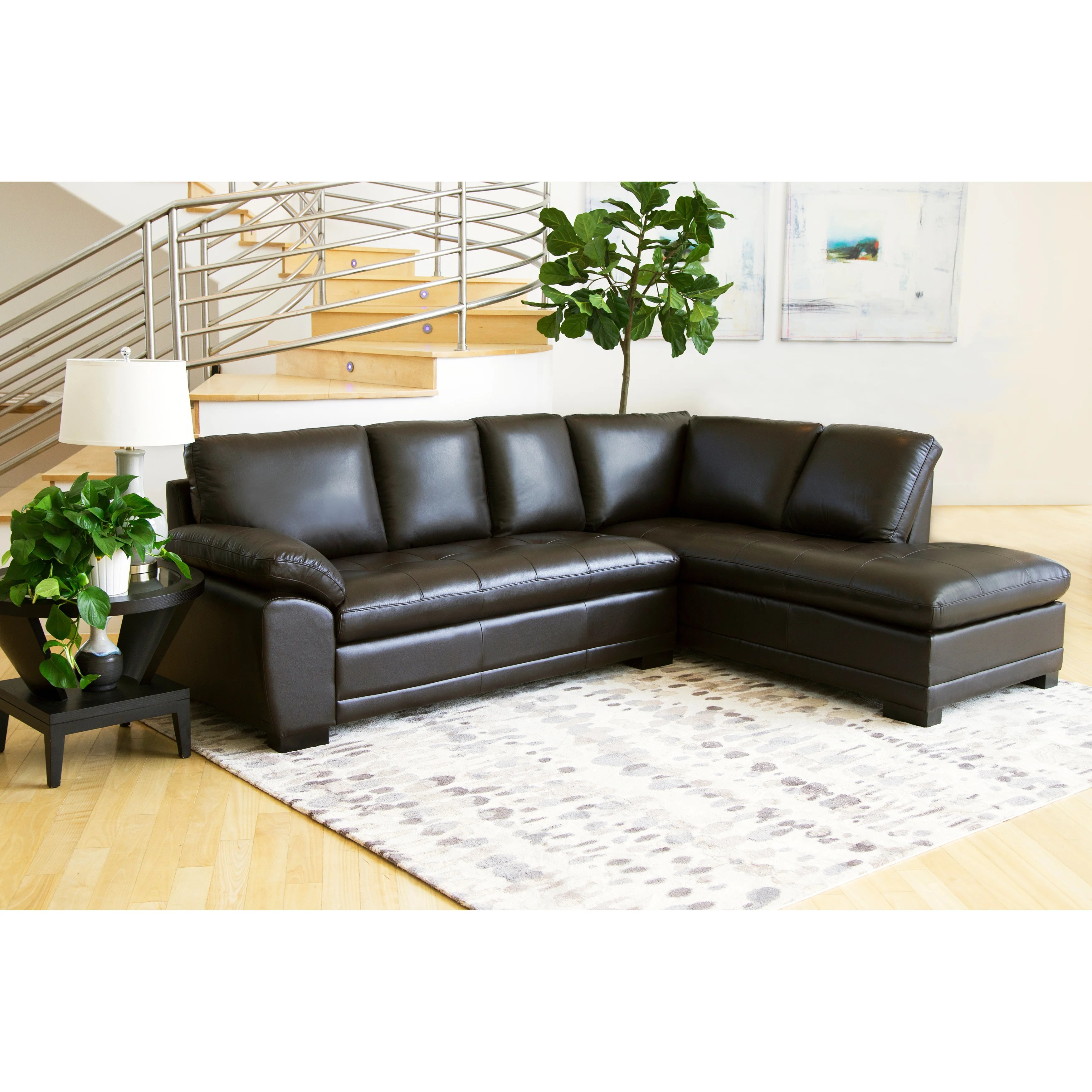 abbyson leather sofa reviews corner and fabric top product for devonshire tufted sectional