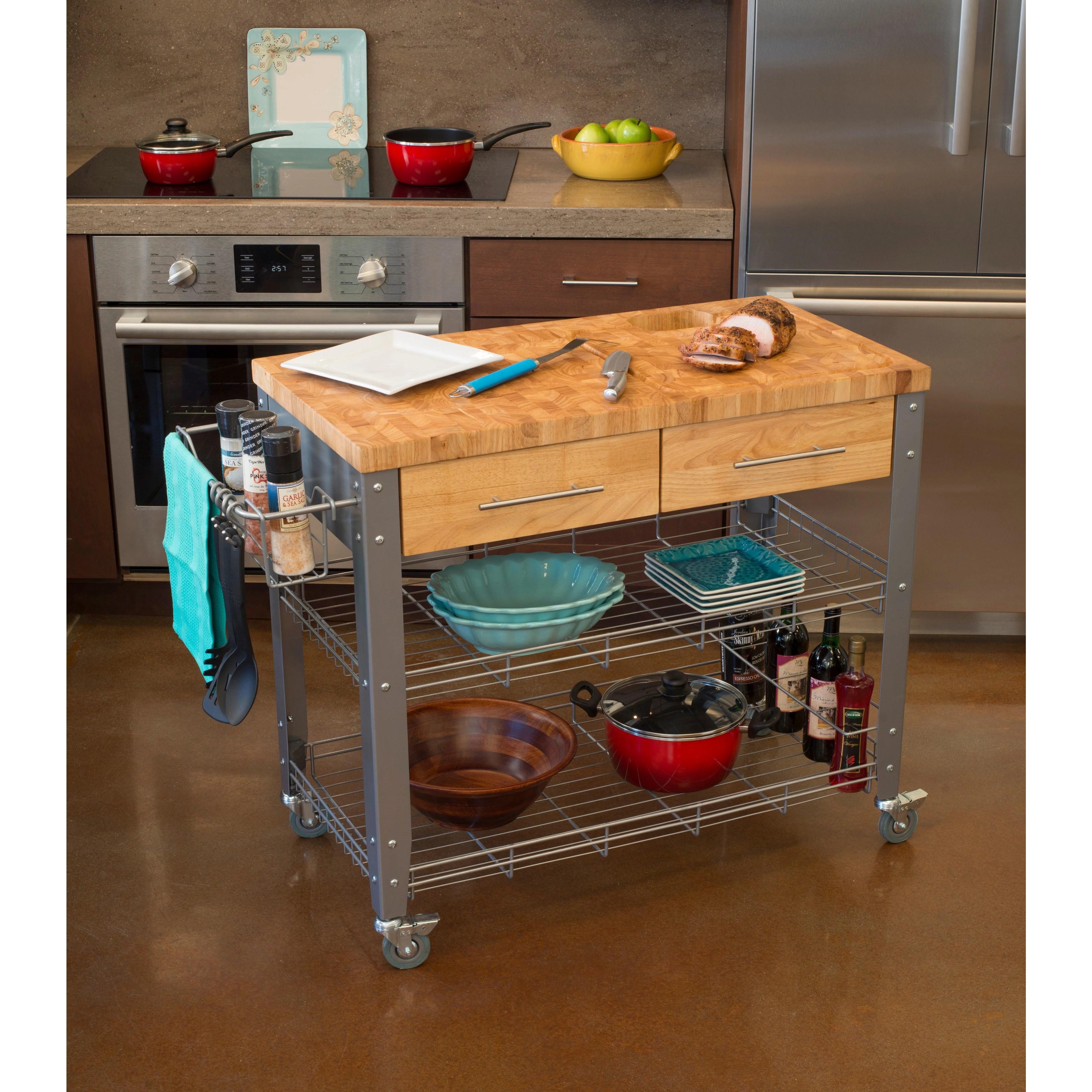 kitchen work station buy old cabinets shop chris and stadium natural hardwood steel