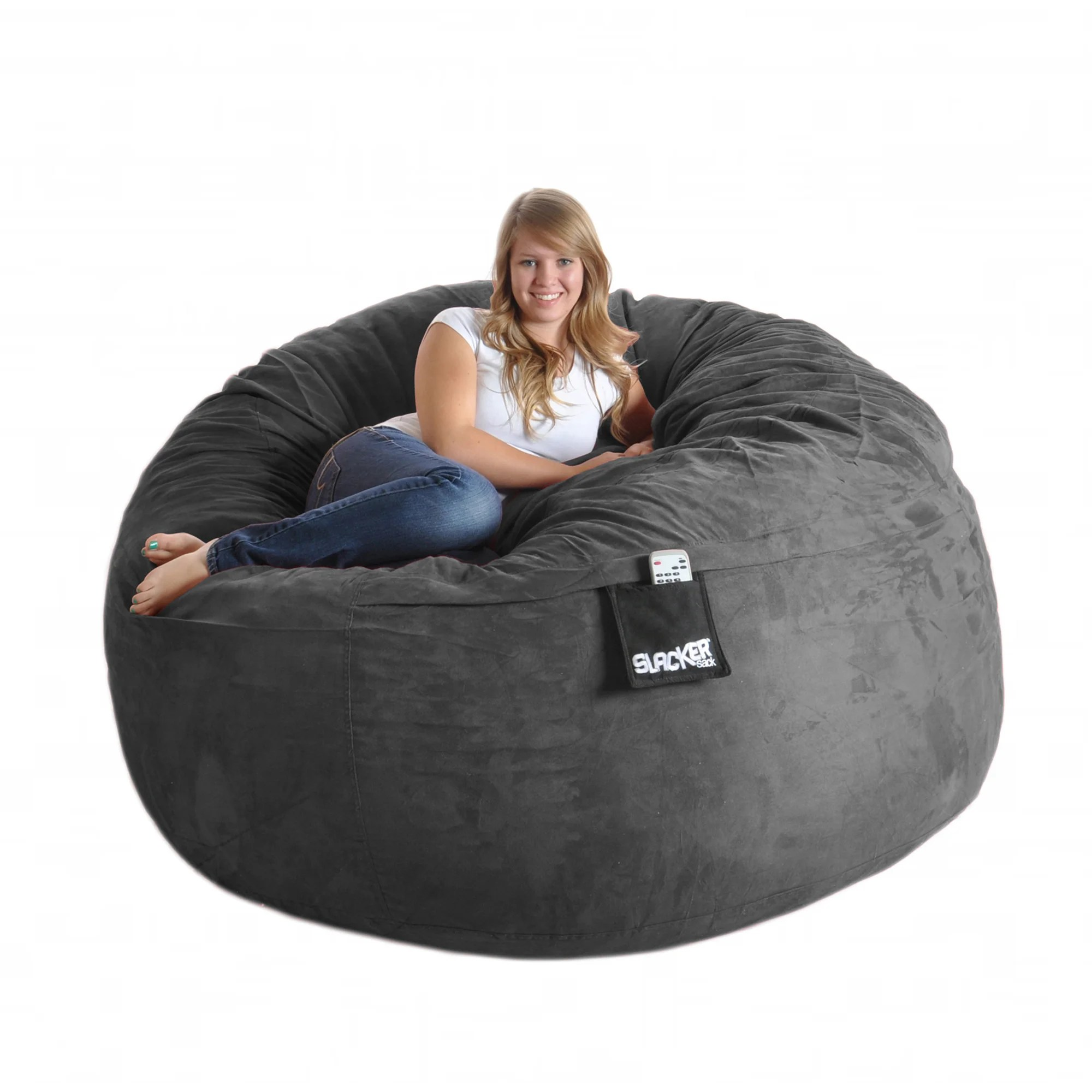 6 foot bean bag chair garden recliner covers uk shop slacker sack round microsuede and foam free