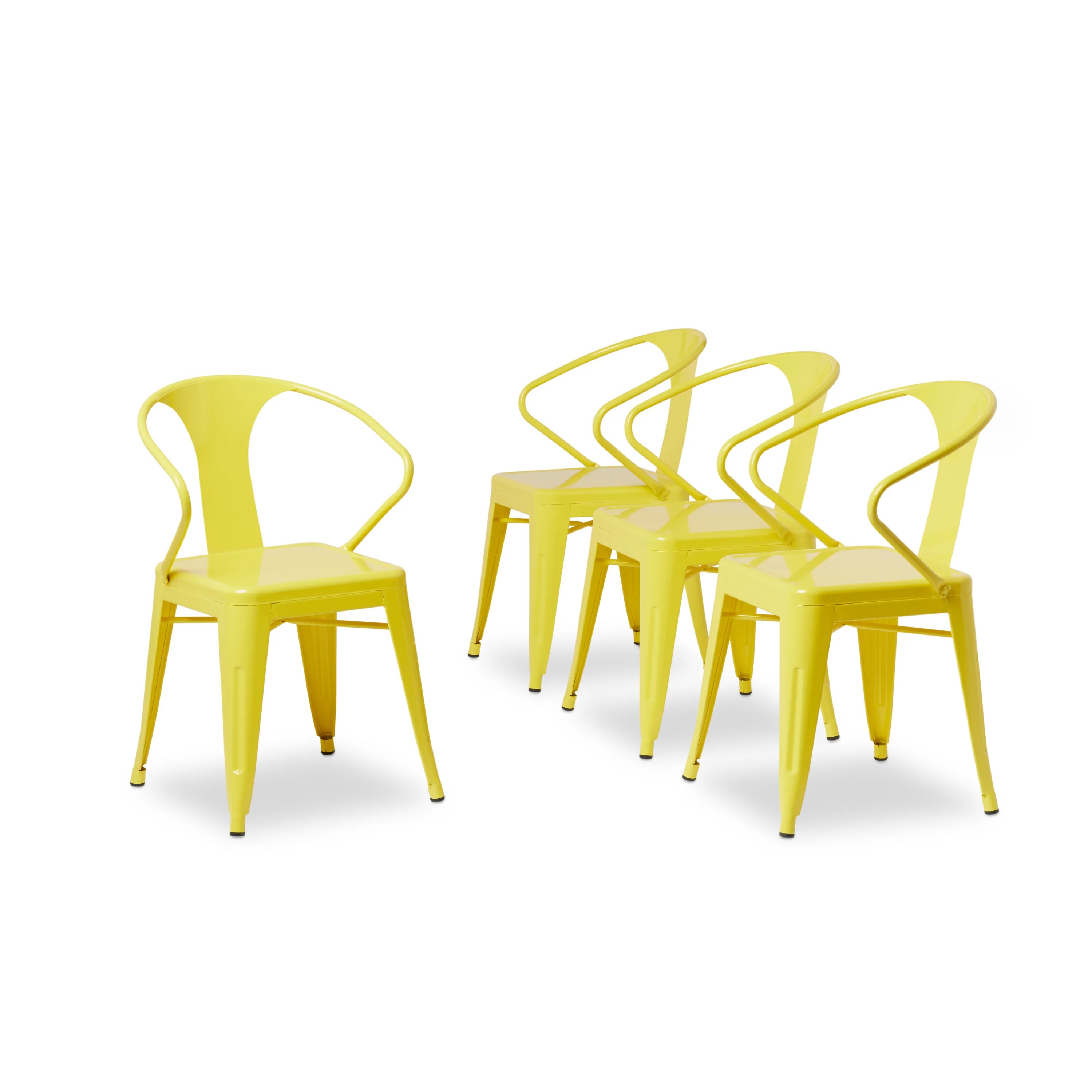 metal stacking chairs outdoor patio chair leg caps shop tabouret lemon set of 4 free shipping today overstock com 6839568