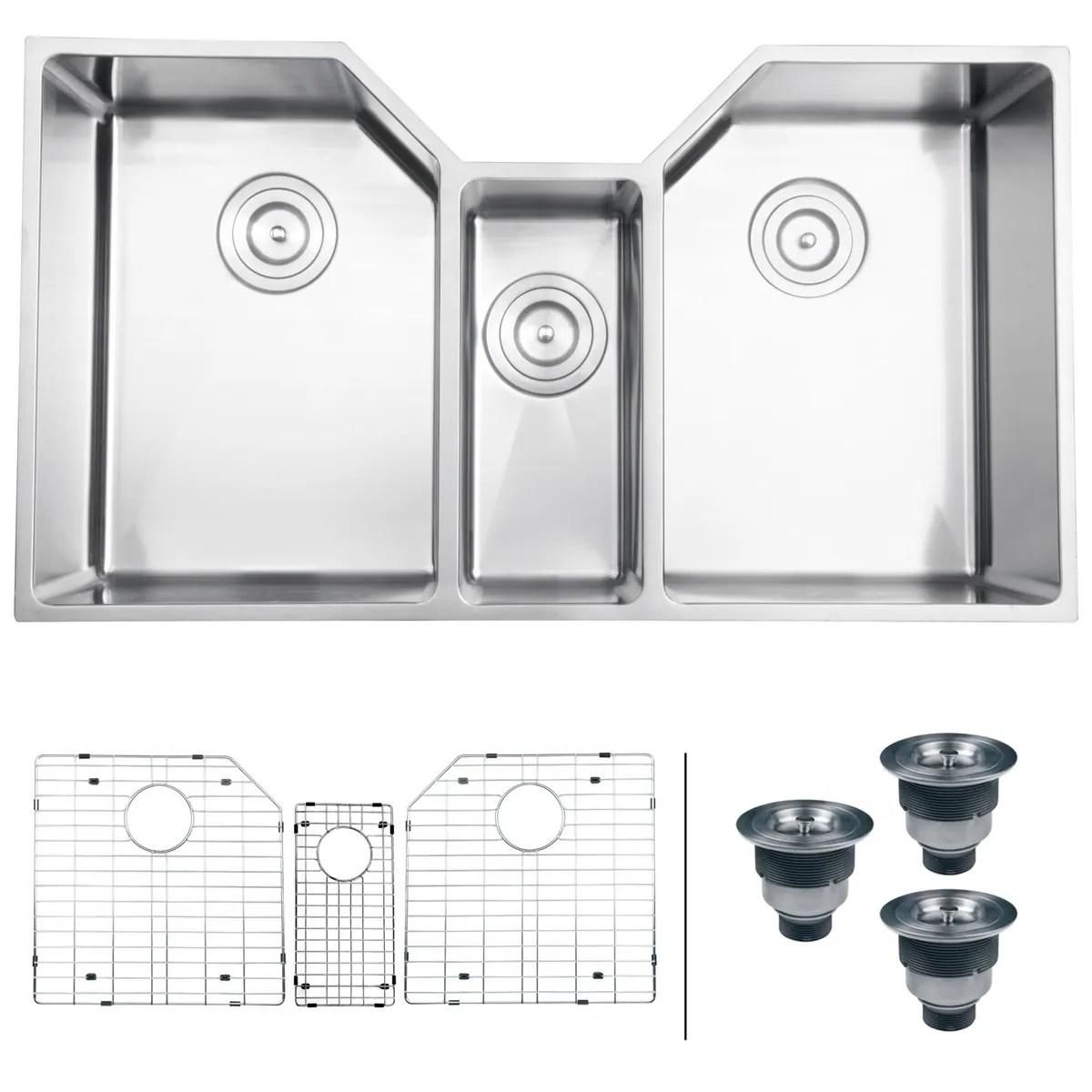 triple kitchen sink window shades shop ruvati 35 bowl undermount 16 gauge stainless steel rvh8500
