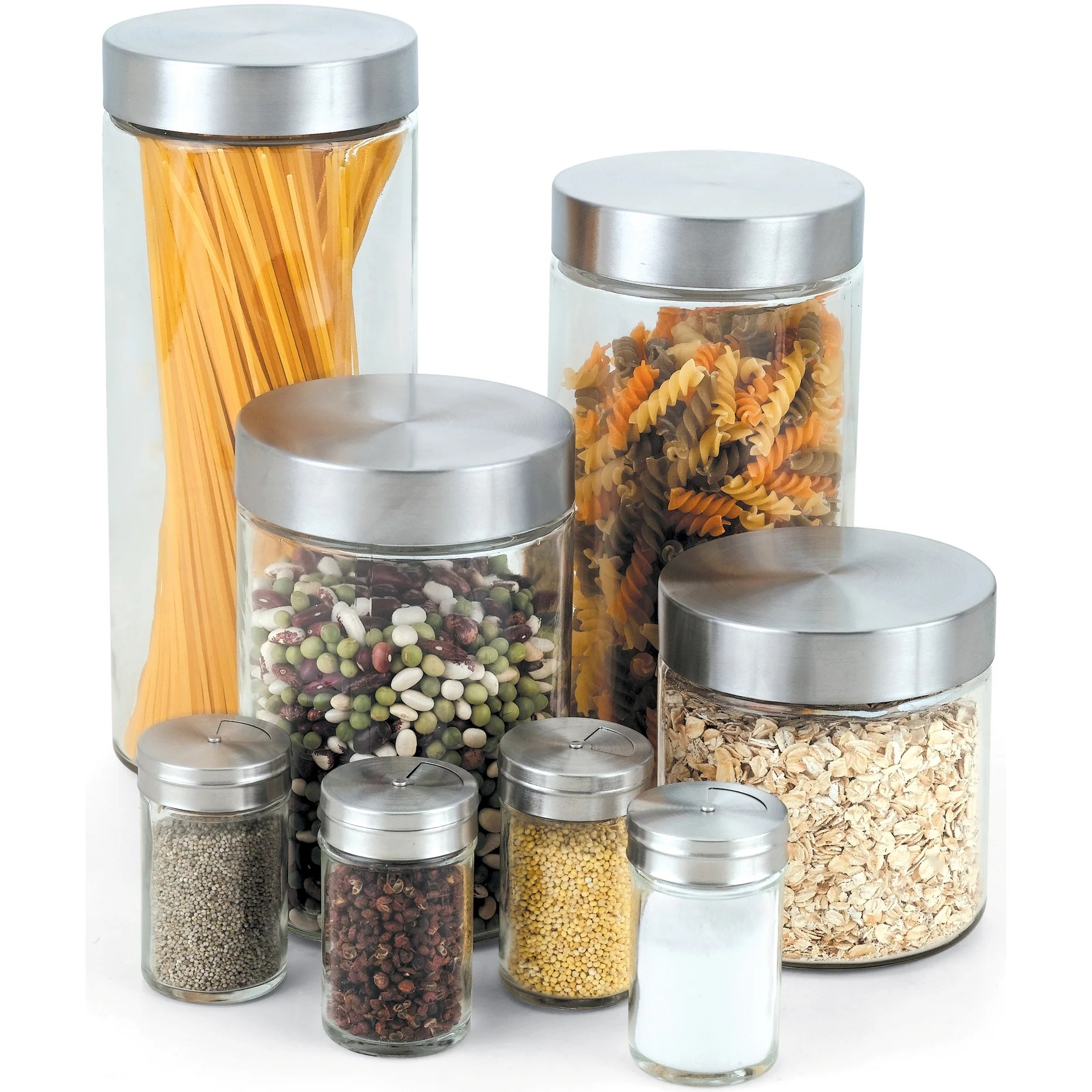 Shop Cook N Home 8 Piece Glass Canister And Spice Jar Set With Lids