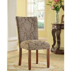 Parson Chairs Chair That Turns Into A Bed Shark Tank Shop Homepop Elegant Blue And Brown Damask Set Of 2