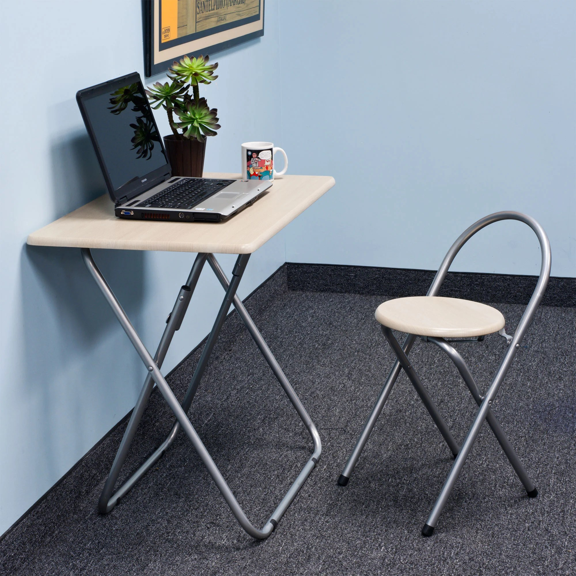folding chair desk combo outdoor rocking chairs white shop trademark home and free shipping today overstock com 7388520