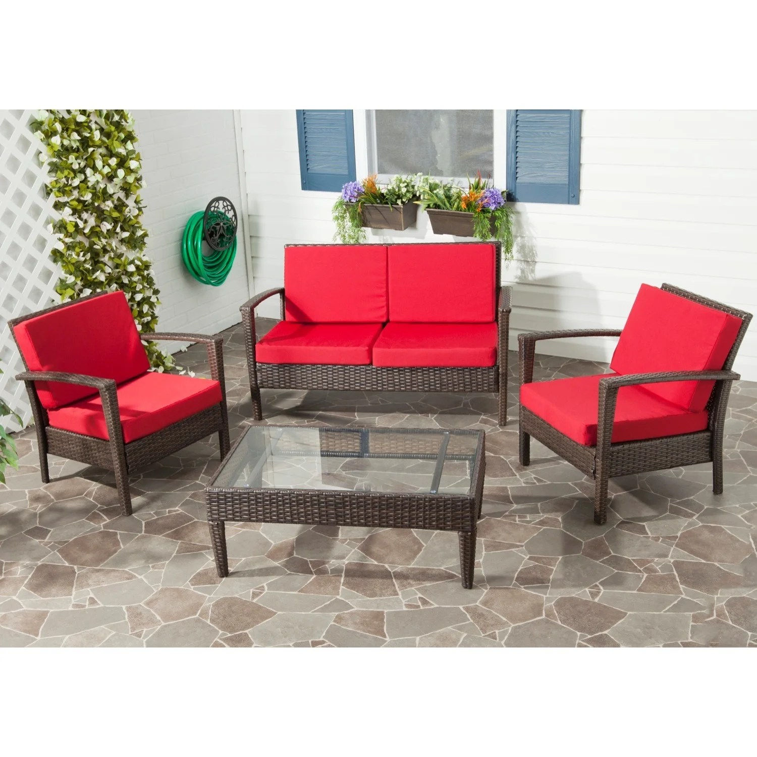 Red Patio Chairs Safavieh Outdoor Living Brown Pe Wicker Red Cushion Glass Top 4 Piece Patio Set