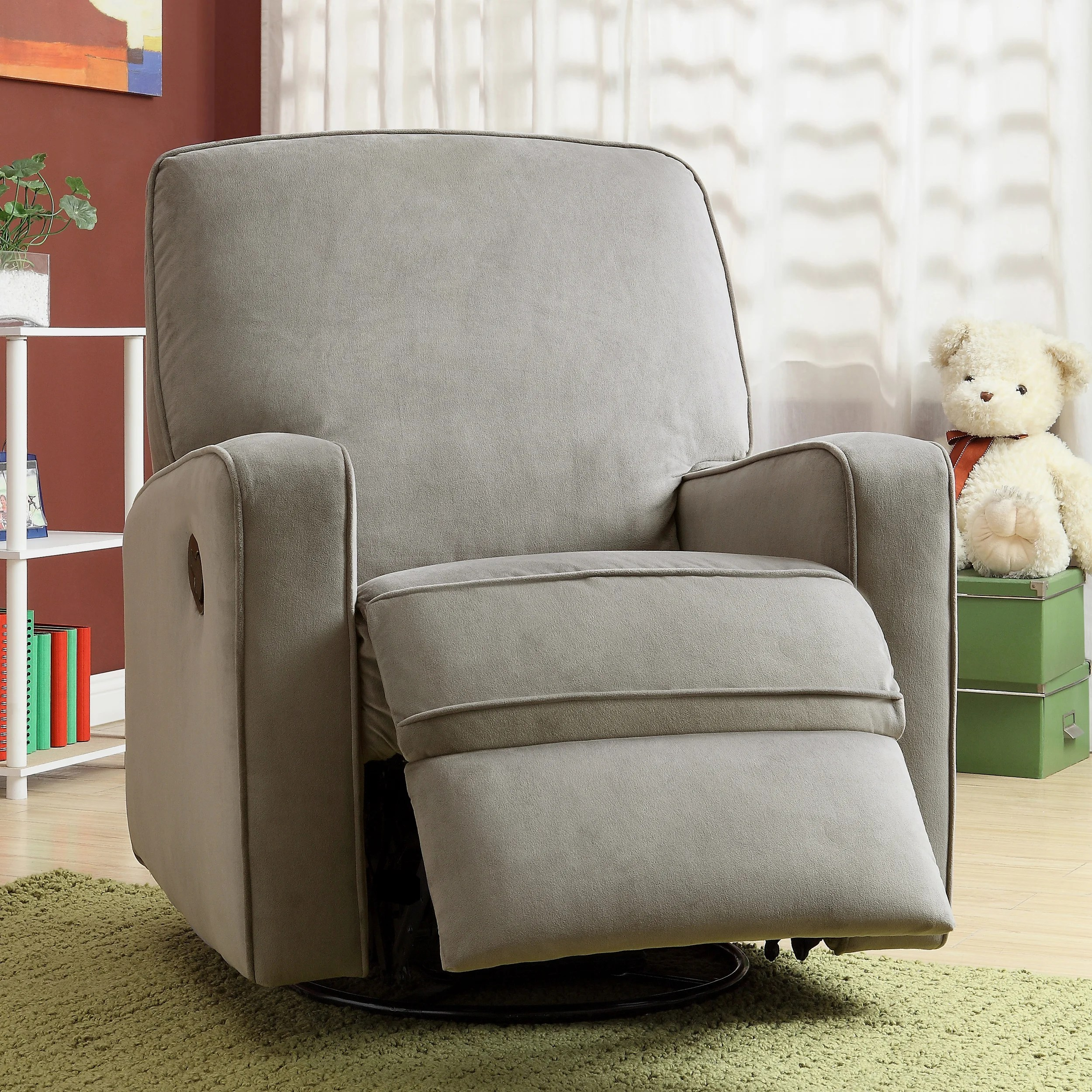 glider recliner chair leather wood shop colton gray fabric modern nursery swivel