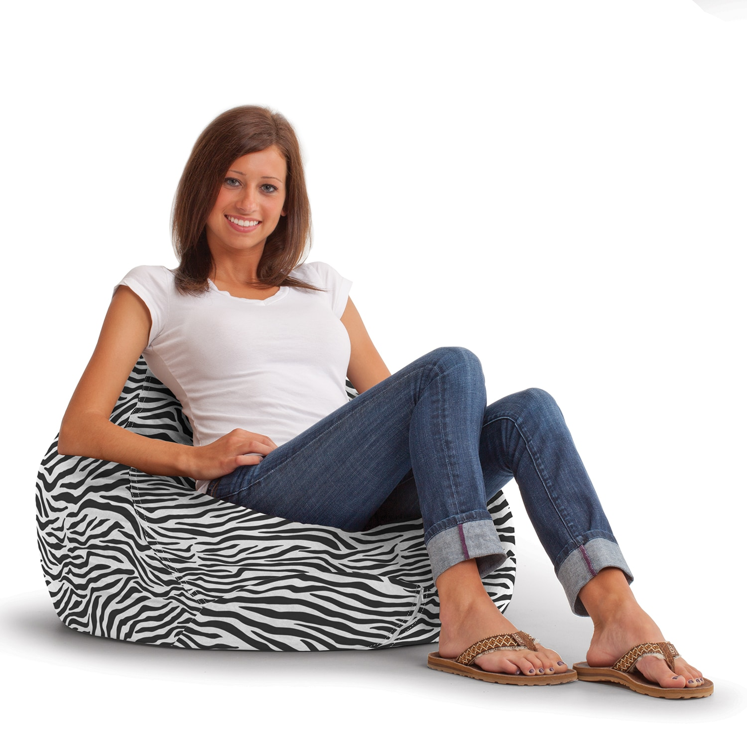 zebra print bean bag chair reading chairs for bedroom shop beansack ultra lounge free shipping today overstock com 8164230