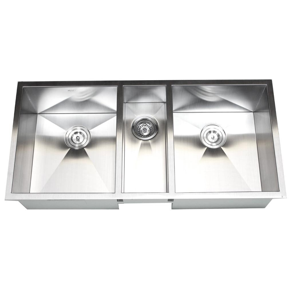 42 inch kitchen sink white undermount shop triple bowl zero radius free