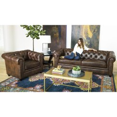 2 Piece Living Room Set Home Decor Ideas For Small In India Shop Abbyson Tuscan Top Grain Leather Chesterfield On Sale Free Shipping Today Overstock Com 8230104