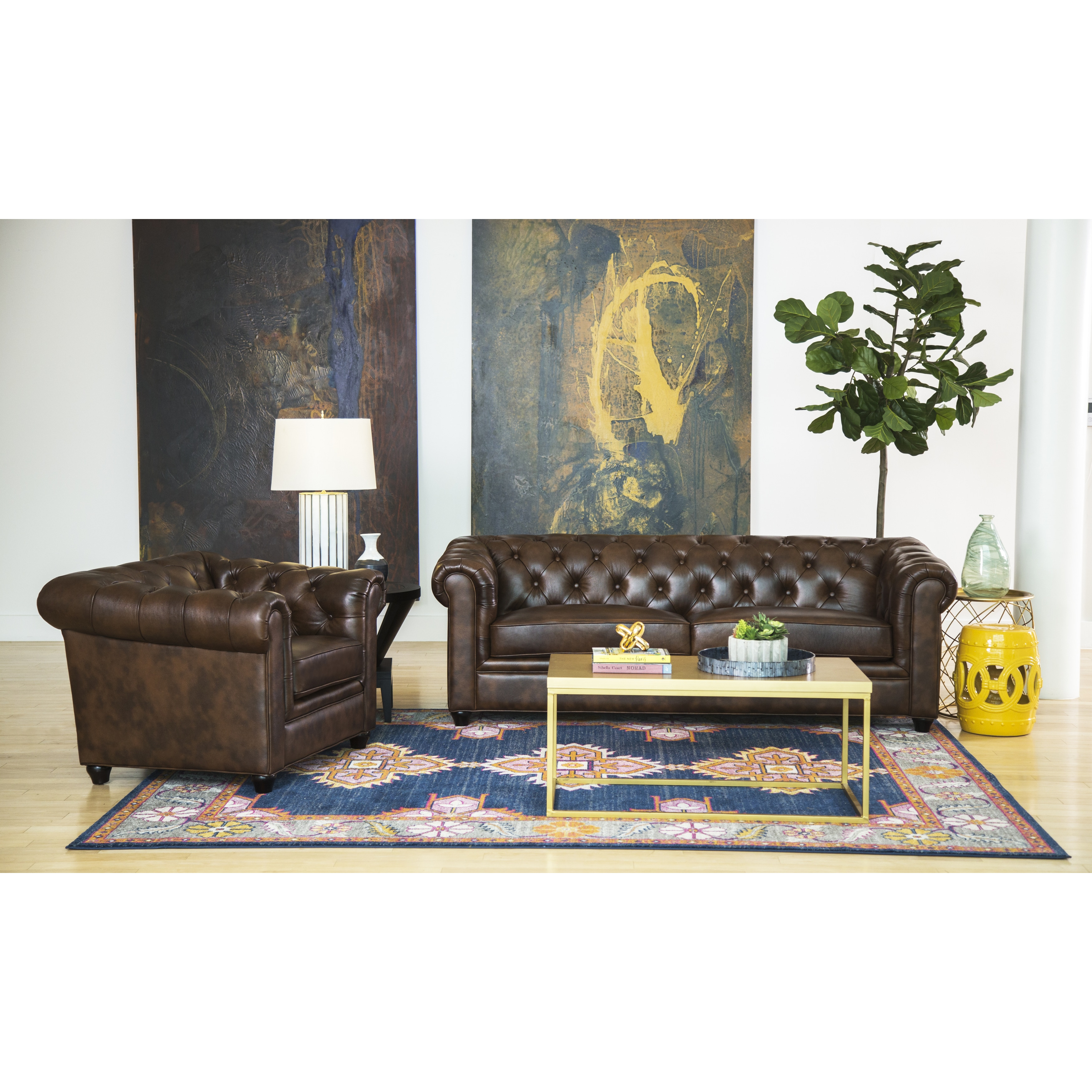 living room set leather ideas for small apartments shop abbyson tuscan top grain chesterfield 2 piece