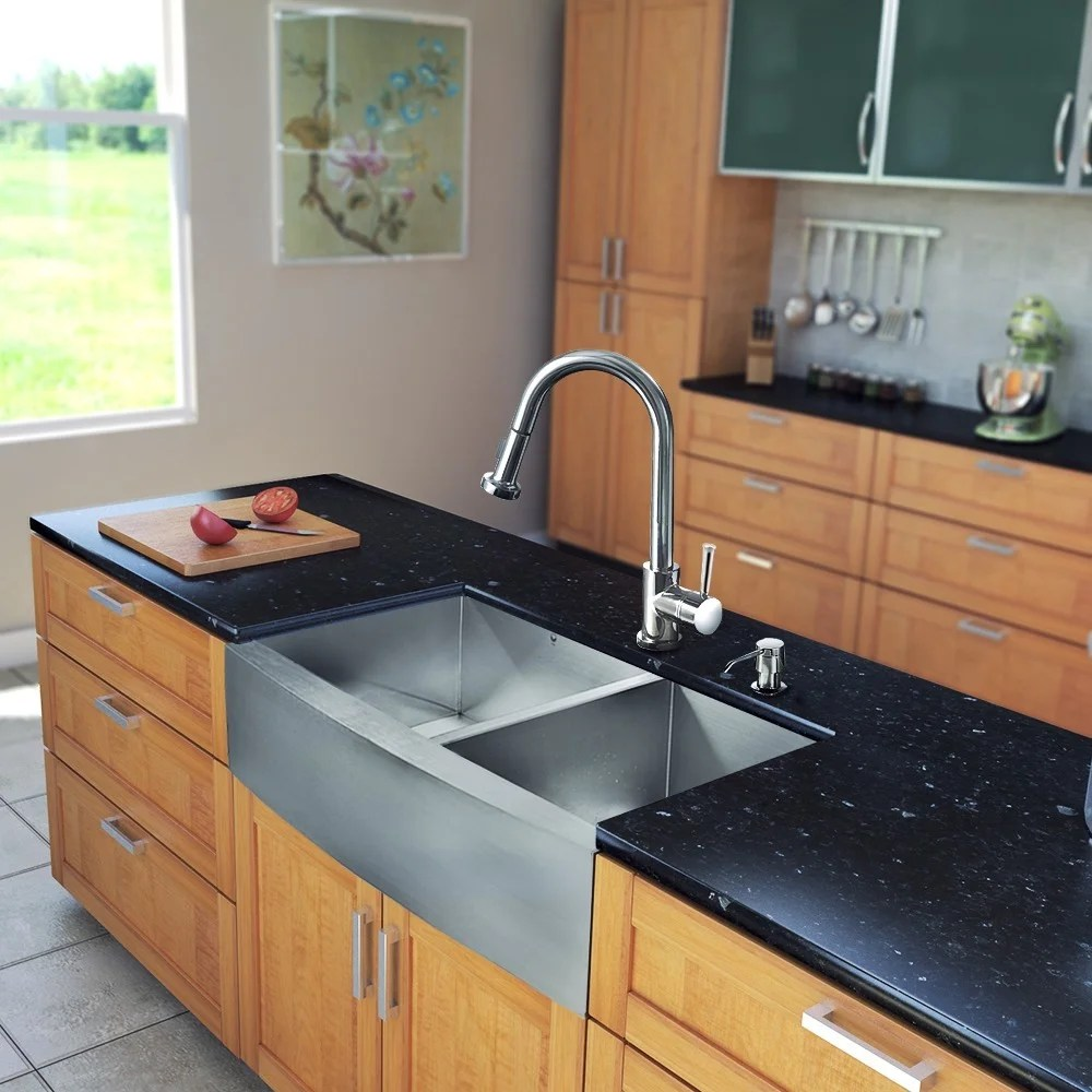 36 inch kitchen sink designer shop vigo all in one stainless steel farmhouse and harrison chrome faucet set free shipping today overstock com 8325062