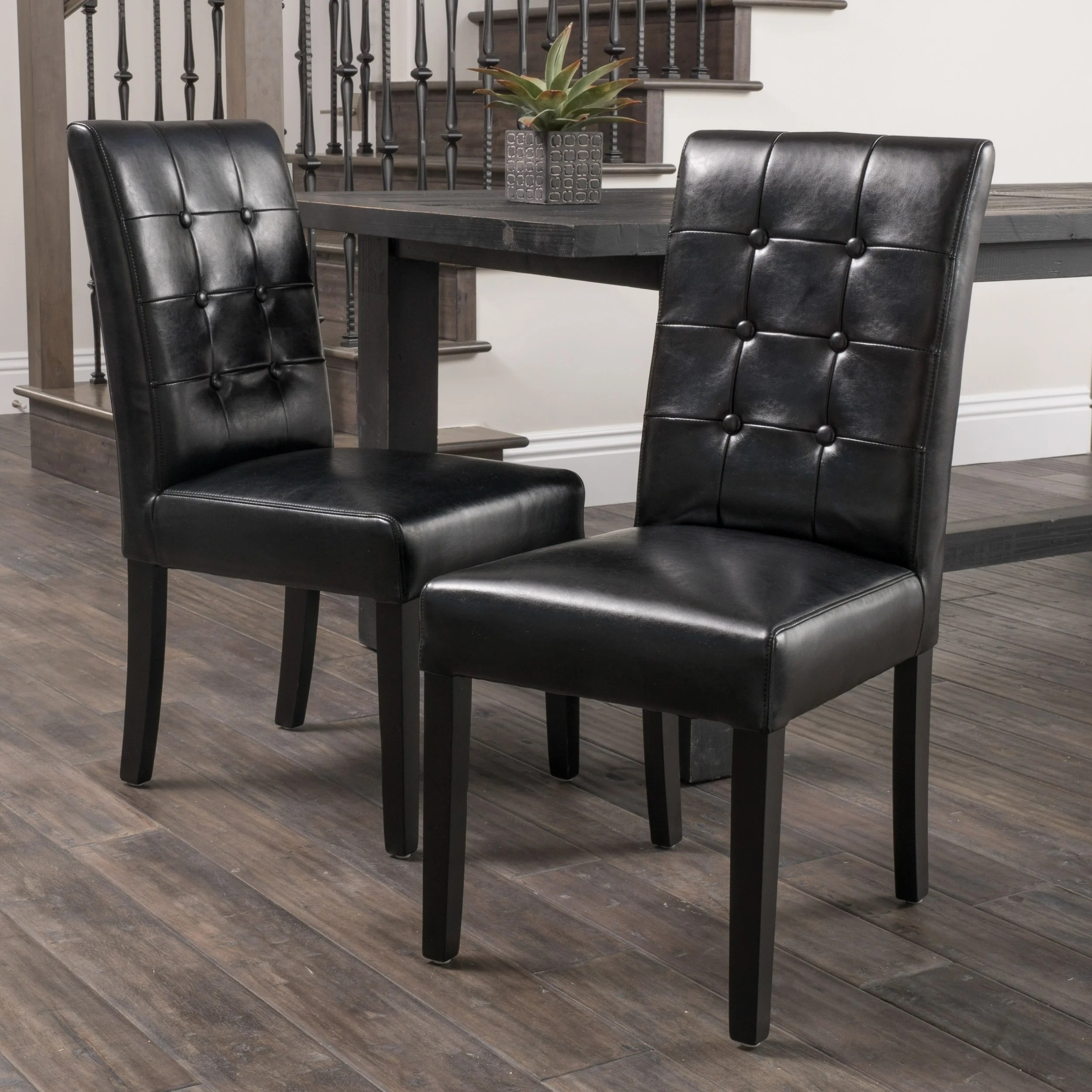 Black Leather Dining Chairs Roland Black Leather Dining Chairs Set Of 2 By Christopher Knight Home
