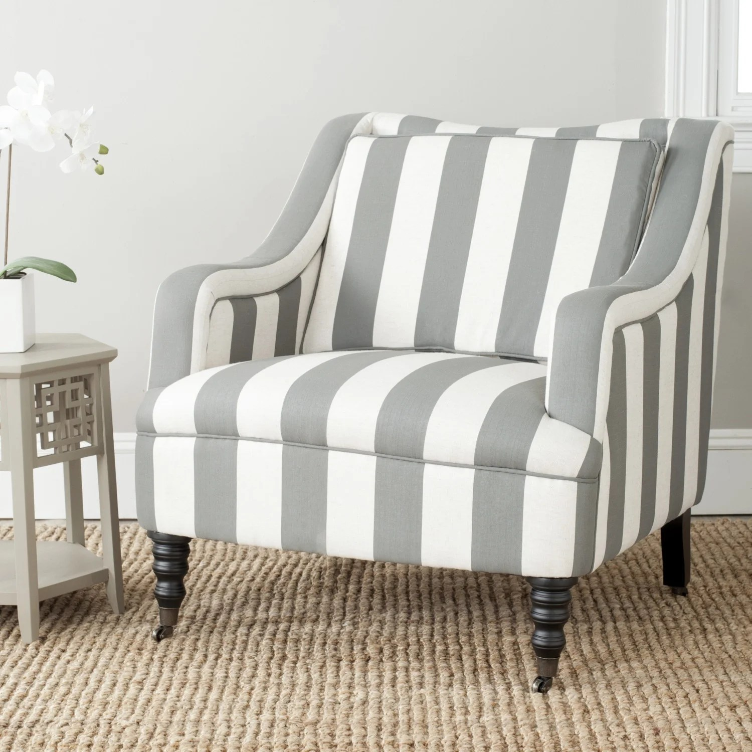 blue and white striped chair diy covers for birthday party shop safavieh homer greyish stripe arm on sale