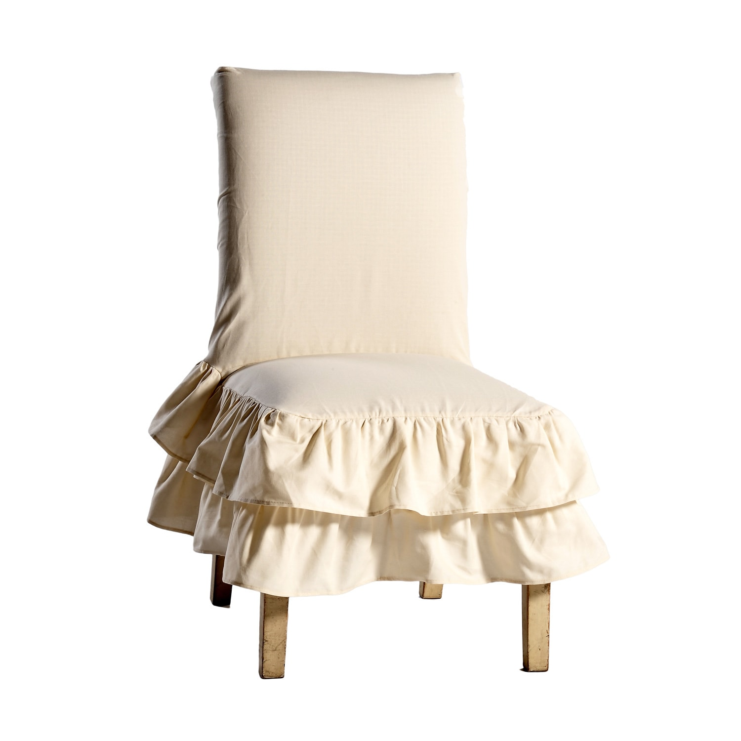Dining Chair Slipcover Cotton Tiered Ruffled Dining Chair Slipcover