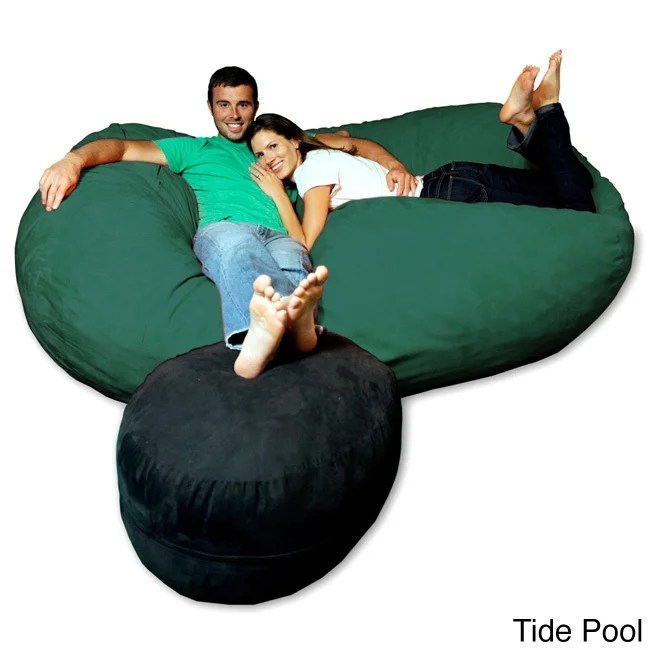 what size bean bag chair do i need therapy ball shop soft memory foam microsuede 7 5 foot beanbag lounger on sale free shipping today overstock com 8486920