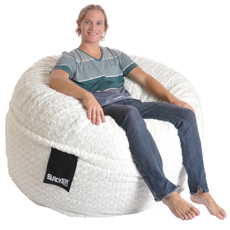 foam bean bag chair living room hammock shop slacker sack 5 foot round large soft white fur memory free shipping today overstock com 8494427