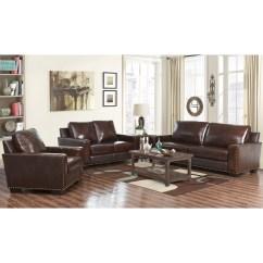 Living Room Set Leather Decorations For The Shop Abbyson Barrington Top Grain 3 Piece