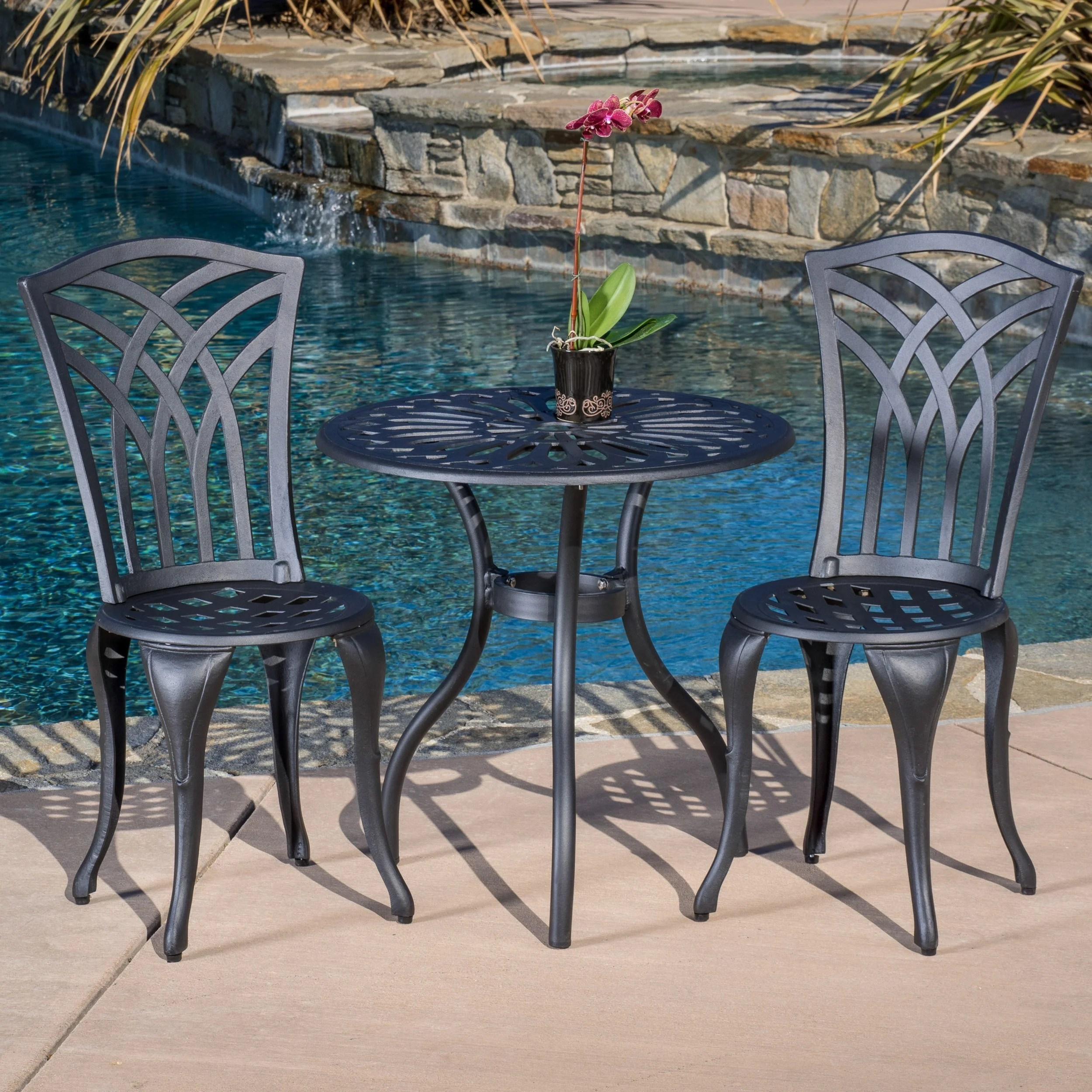 Metal Bistro Table And Chairs Sanders 3 Piece Black And Sand Cast Aluminum Outdoor Bistro Set By Christopher Knight Home