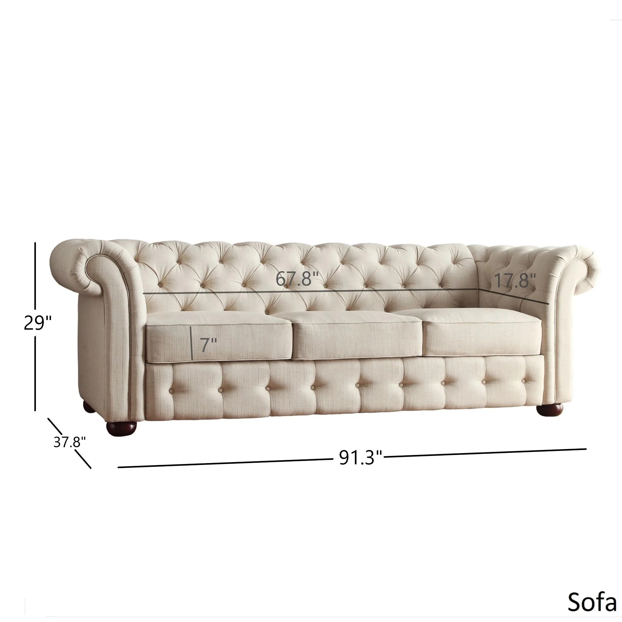 tufted button sofa small living room philippines shop knightsbridge beige fabric chesterfield and seating by inspire q artisan on sale free shipping today overstock com 8763005