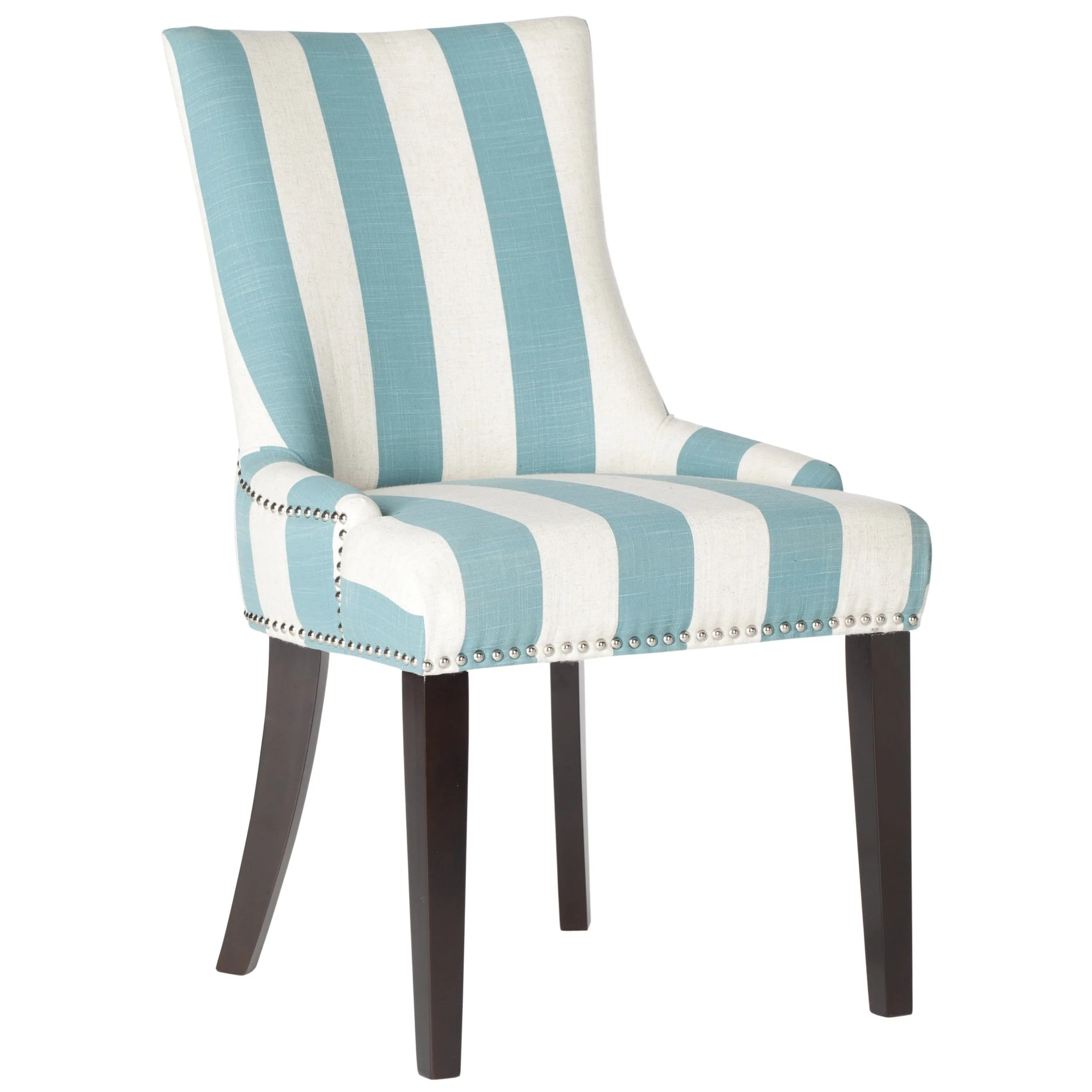Blue And White Striped Chair Safavieh En Vogue Dining Lester Aqua Blue White Stripe Polyester Blend Dining Chairs Set Of 2