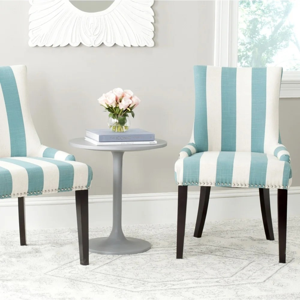 Aqua Dining Chairs Safavieh En Vogue Dining Lester Aqua Blue White Stripe Polyester Blend Dining Chairs Set Of 2