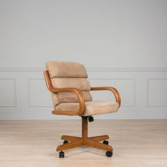 Caster Dining Chairs Best Budget Office Chair Shop Brown Solid Wood Rolling With Tilt And Cushion Seat