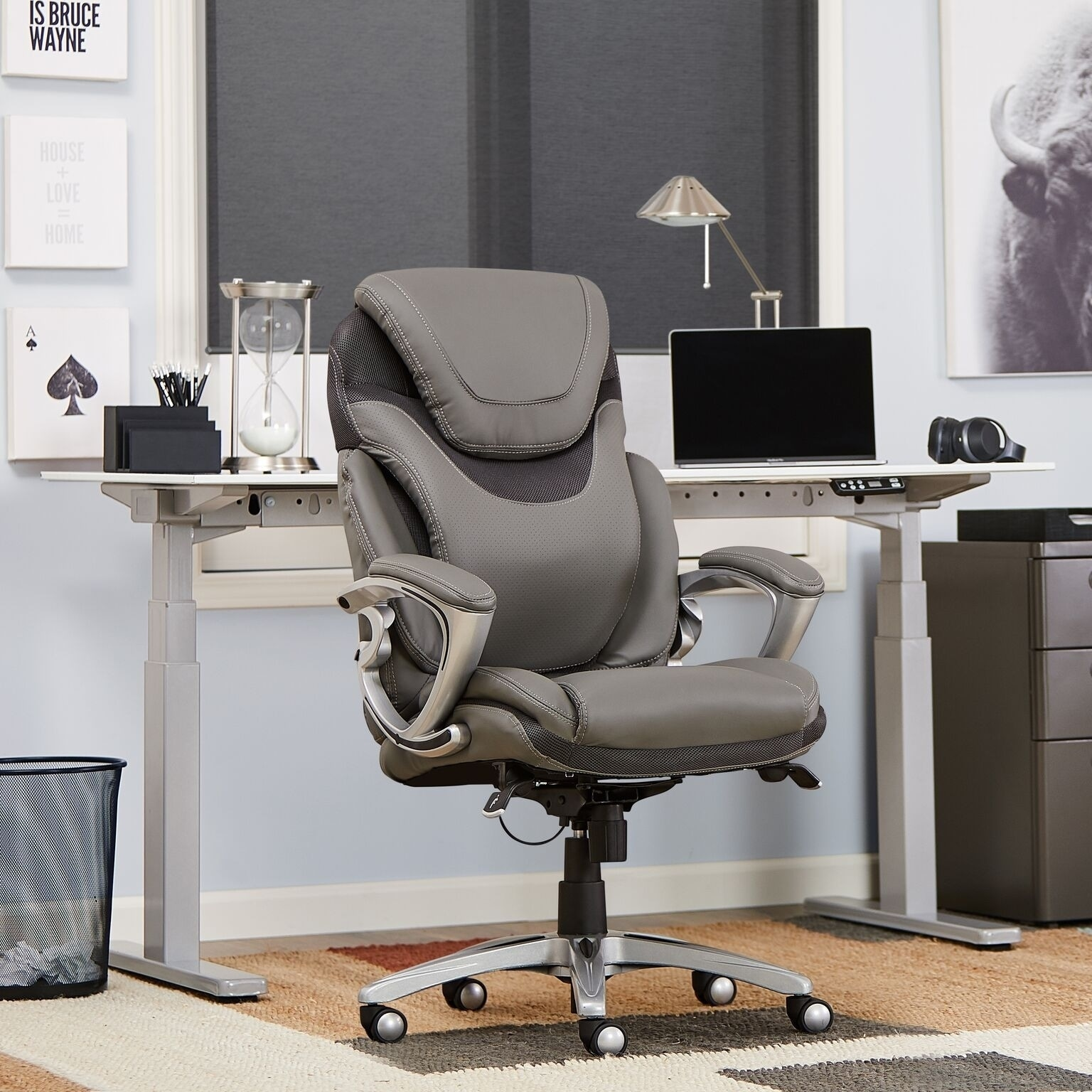 leather executive office chair dining covers buy online shop serta light grey bonded free