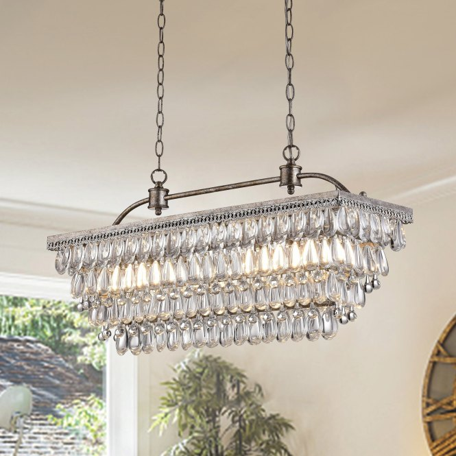 Silver Orchid Taylor Antique 6 Light Rectangular Glass Droplets Chandelier Free Shipping Today 16404233