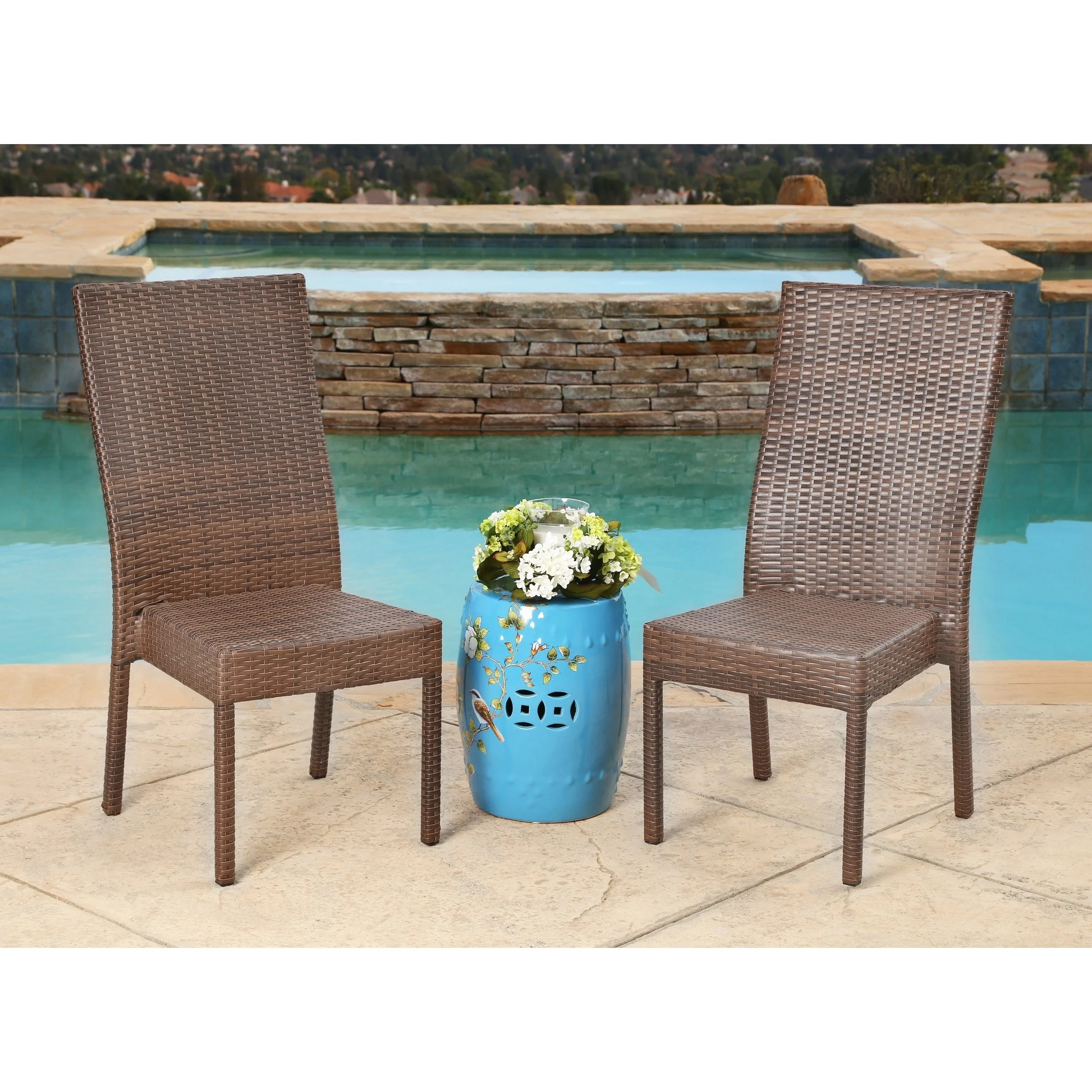 Wicker Outdoor Dining Chairs Abbyson Palermo Outdoor Brown Wicker Dining Chairs Set Of 2