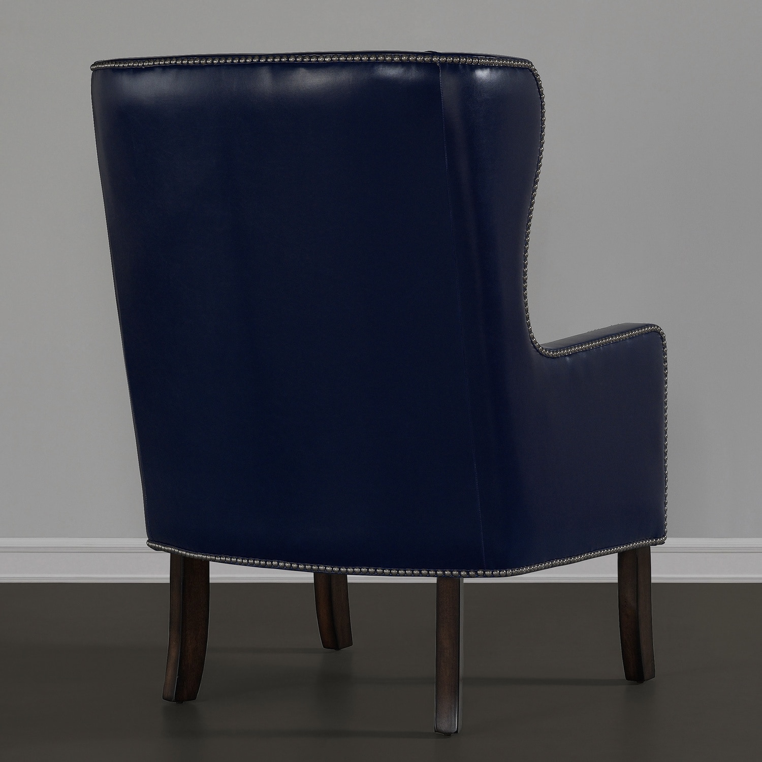 Oversized Wingback Chair Navy Bonded Leather Nailhead Oversized Wing Chair