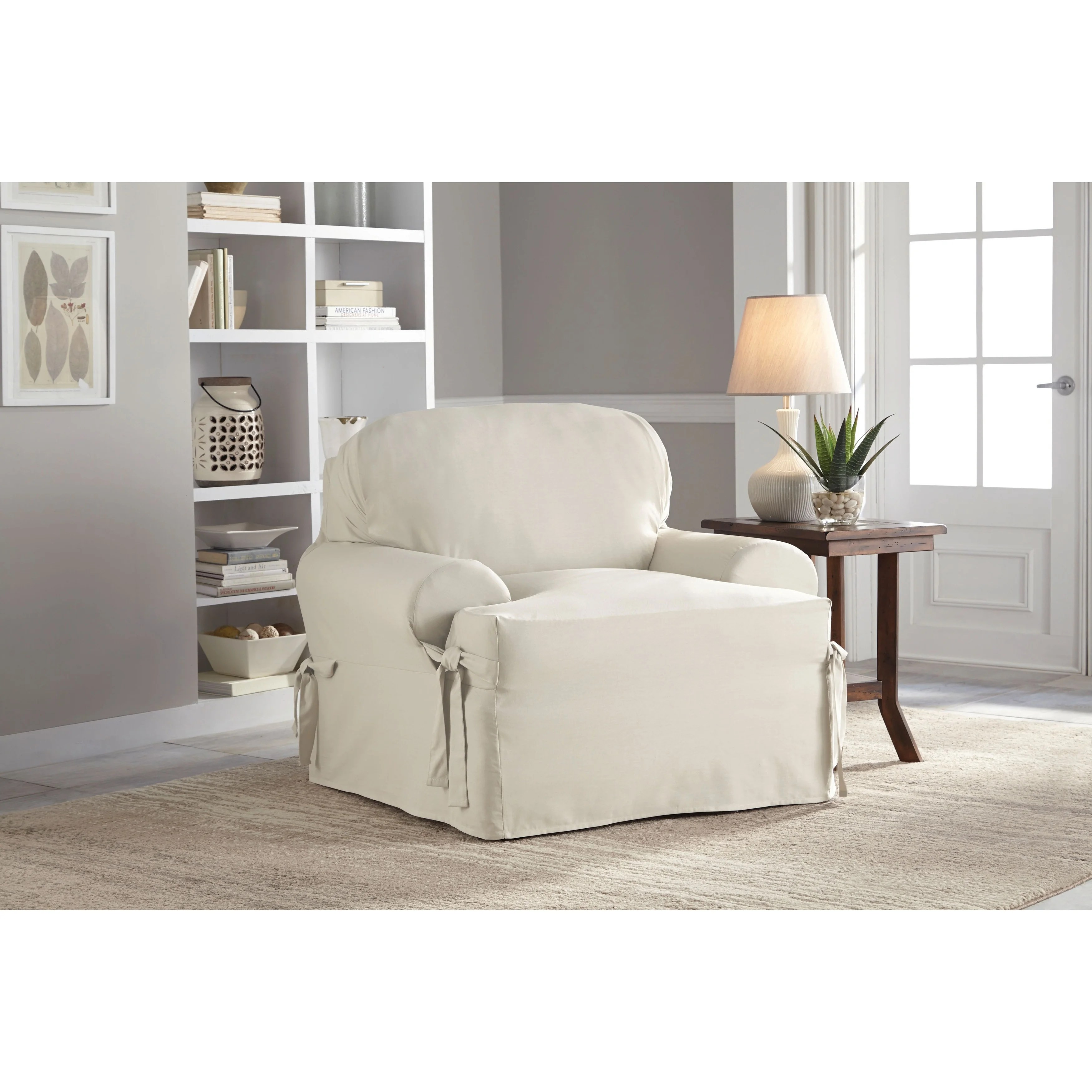 chair slipcover t cushion bedroom swivel shop tailor fit relaxed cotton duck